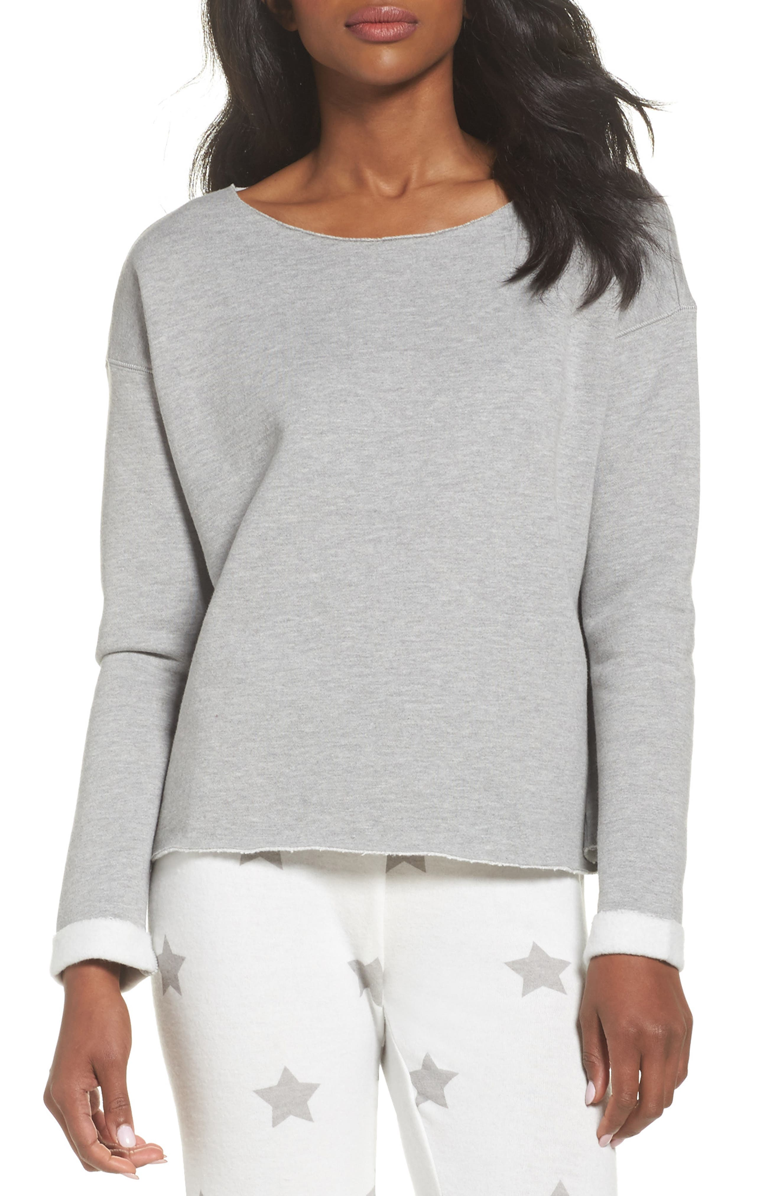 Raw Edge Pullover,                         Main,                         color, Heather Grey