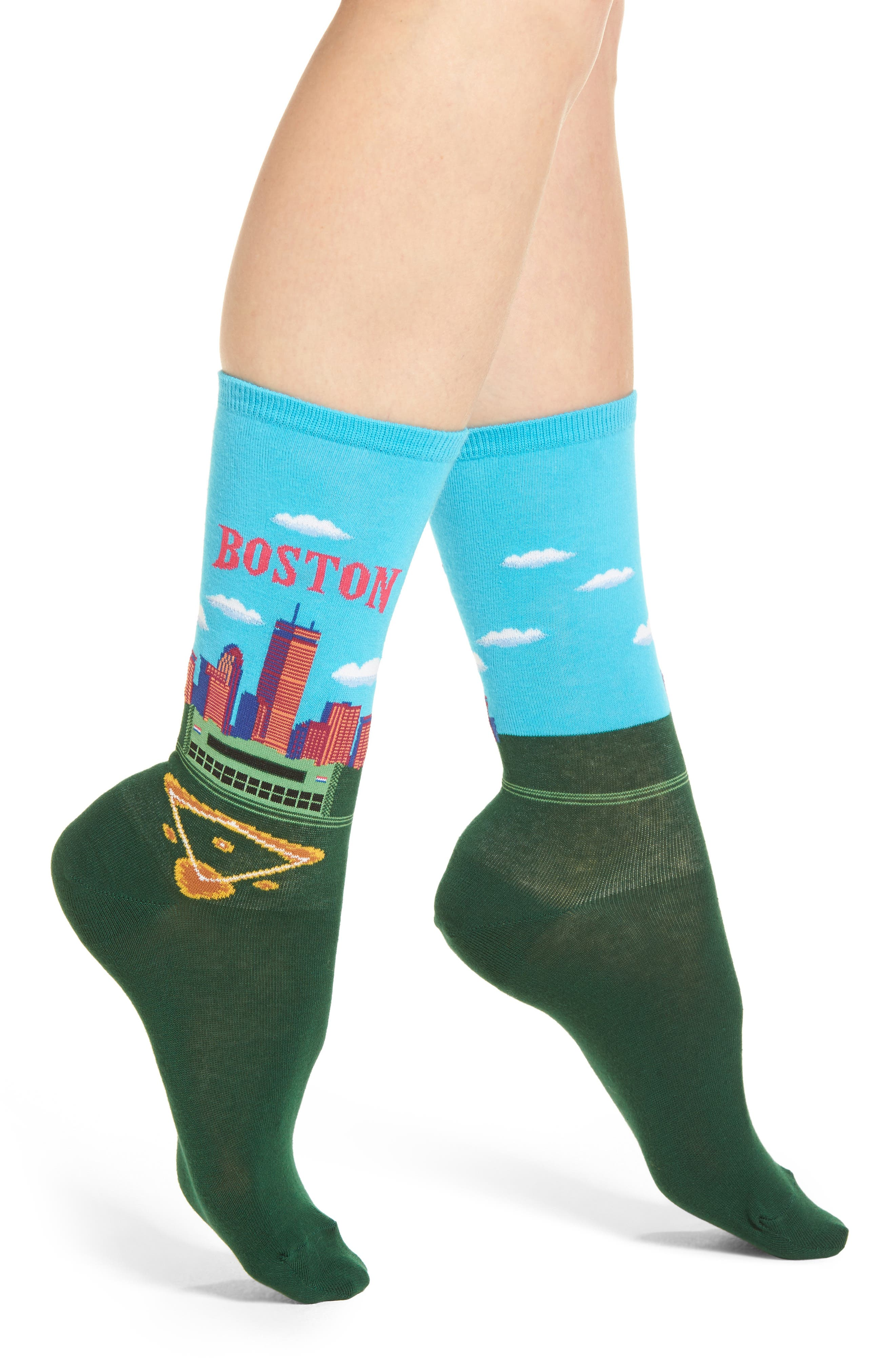 Travel Series - Boston Crew Socks,                             Main thumbnail 1, color,                             Light Blue