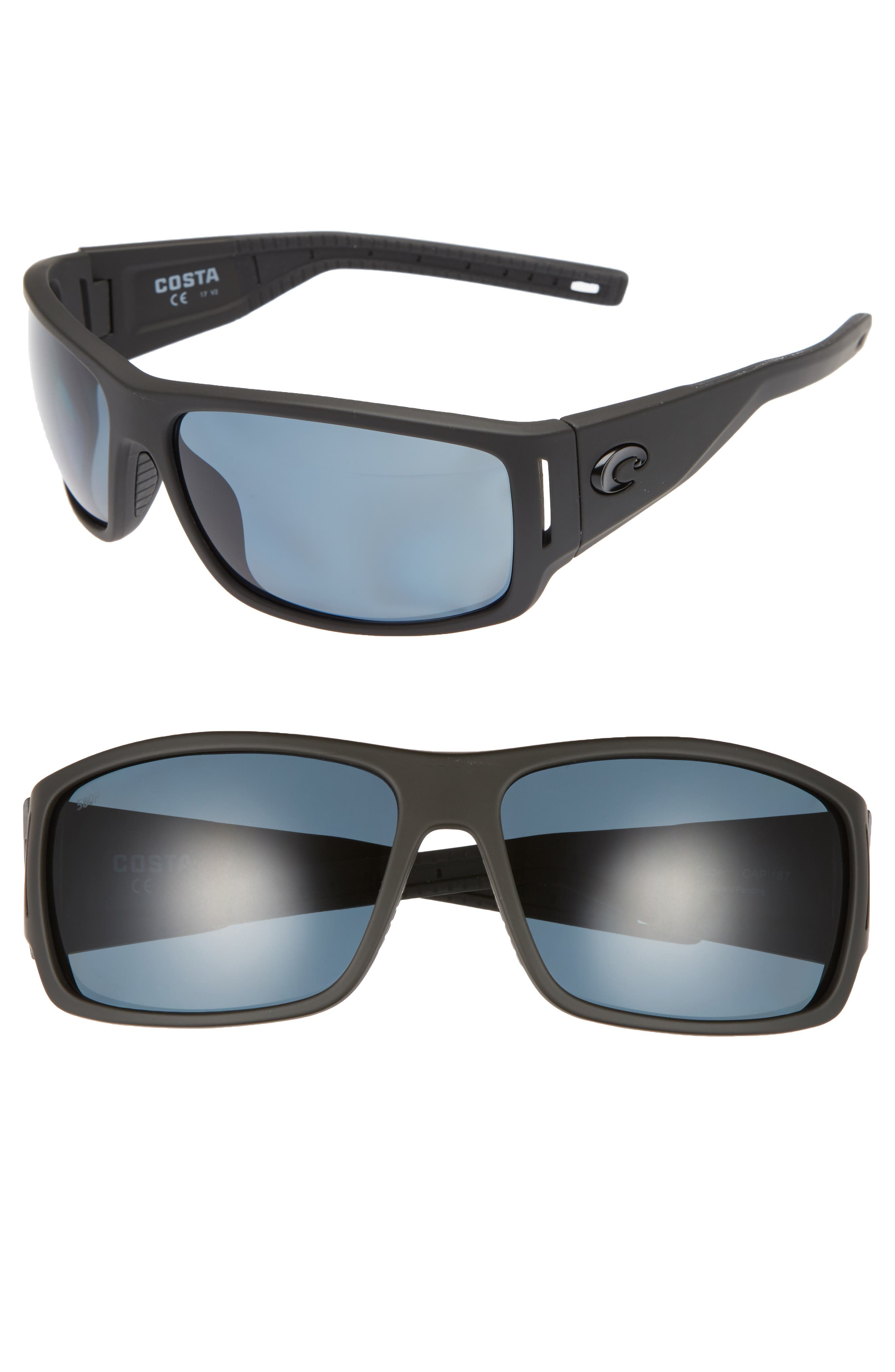 Cape 66mm Polarized Sunglasses,                             Main thumbnail 1, color,                             Matte Black/ Gray