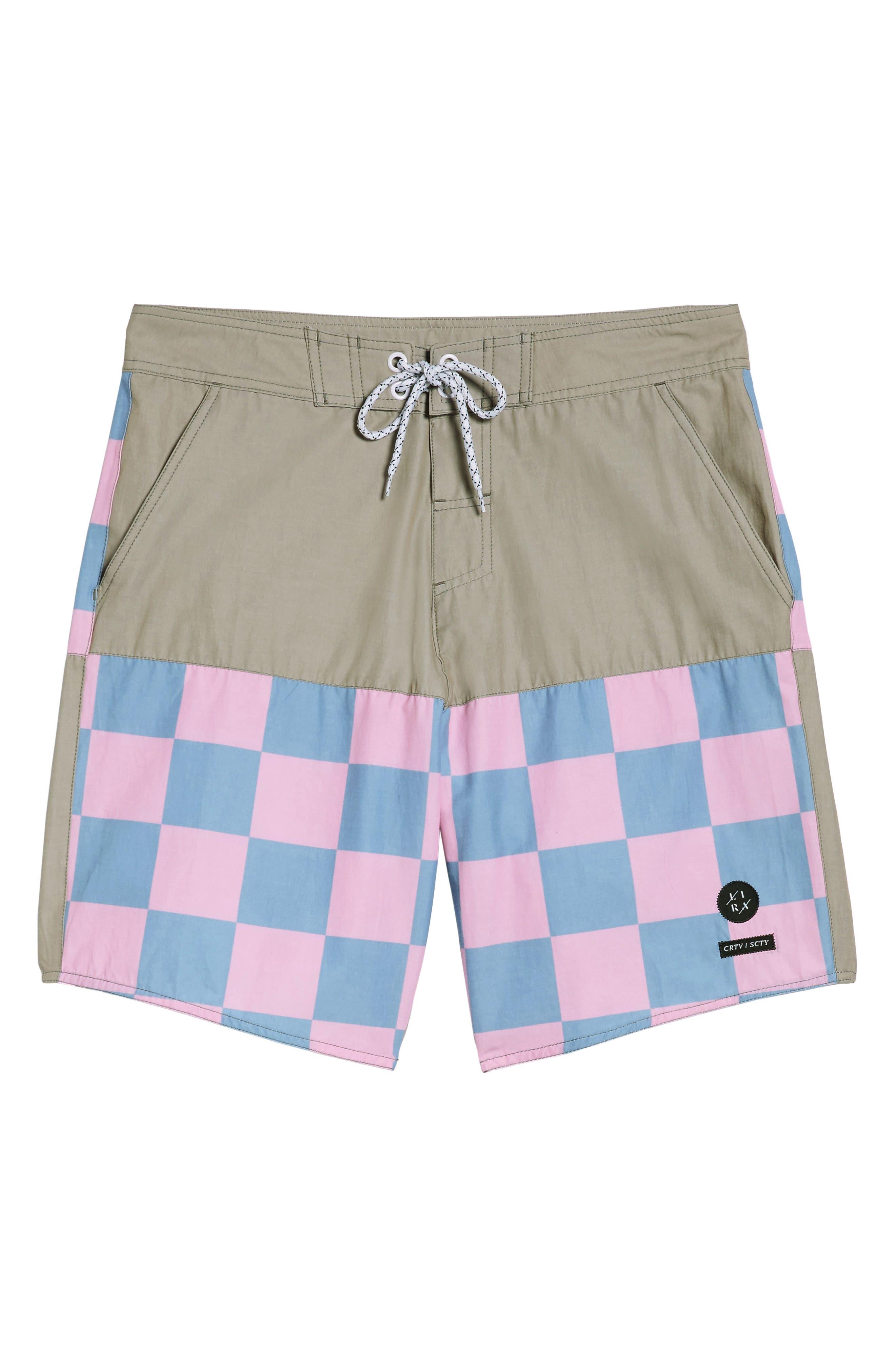 Checkered Board Shorts,                             Alternate thumbnail 6, color,                             Khaki