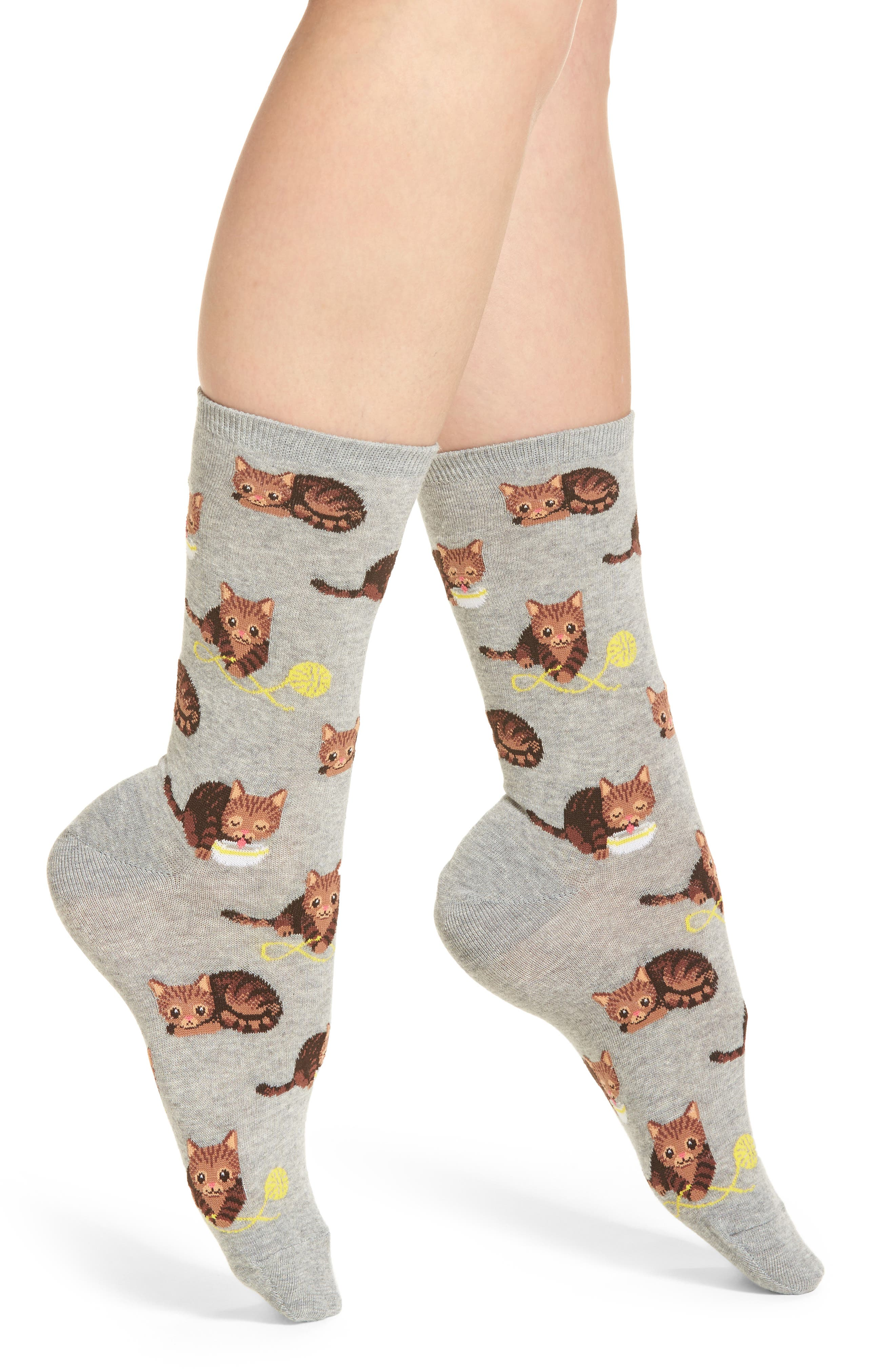 Cat & Yarn Crew Socks,                             Main thumbnail 1, color,                             Grey Heather