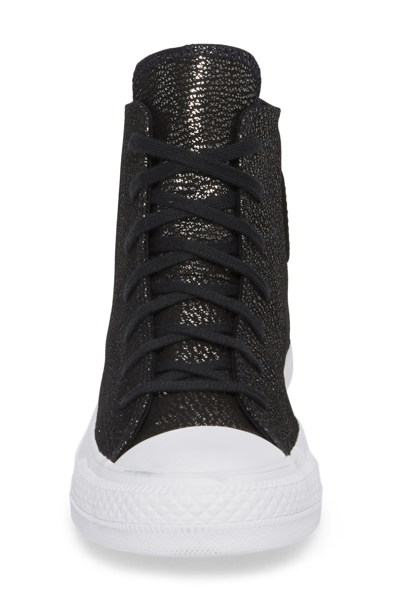 Chuck Taylor<sup>®</sup> All Star<sup>®</sup> Tipped Metallic High Top Sneaker,                             Alternate thumbnail 4, color,                             Black