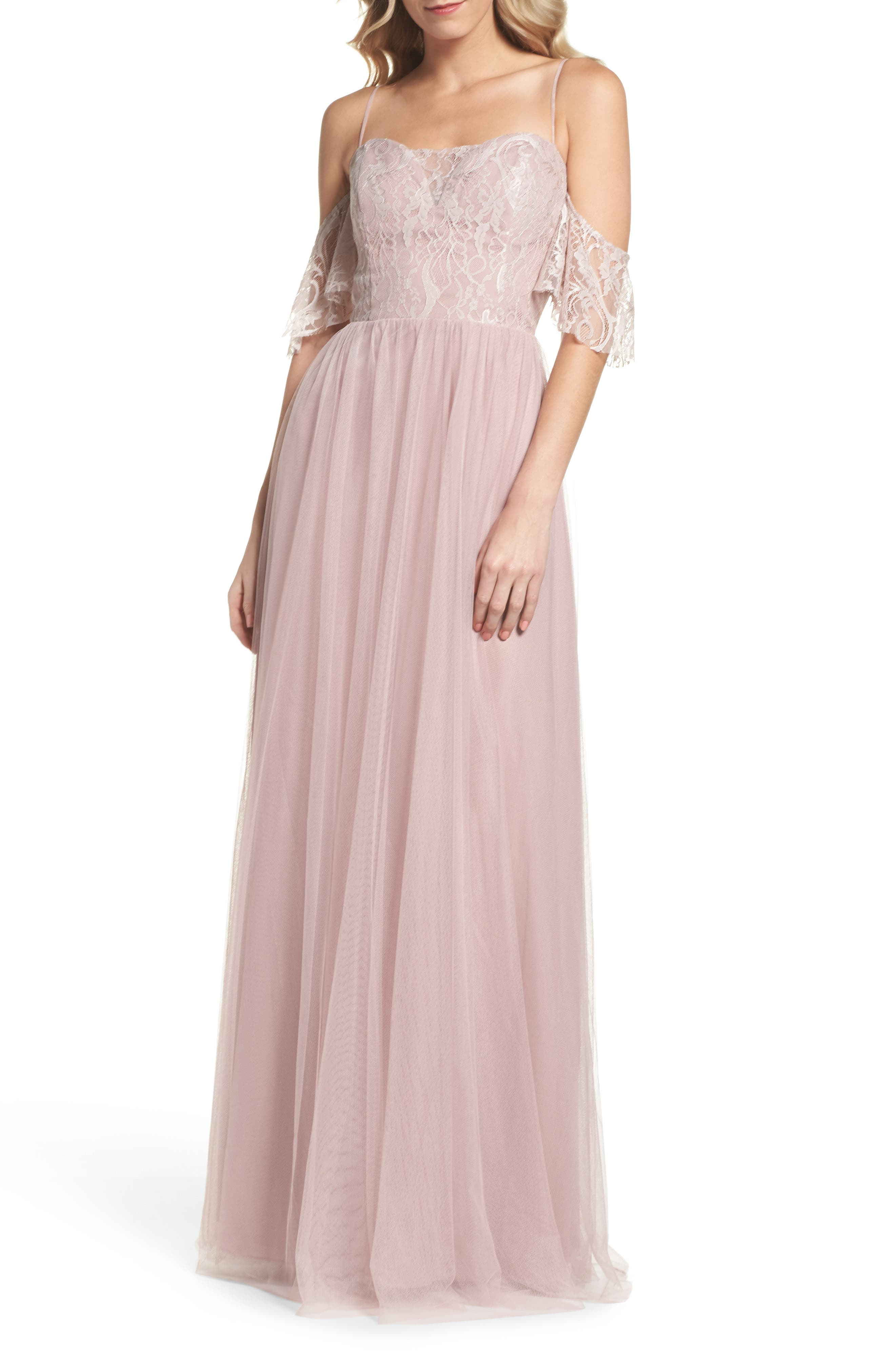 Hayley Paige Occasions Cold Shoulder Lace Gown