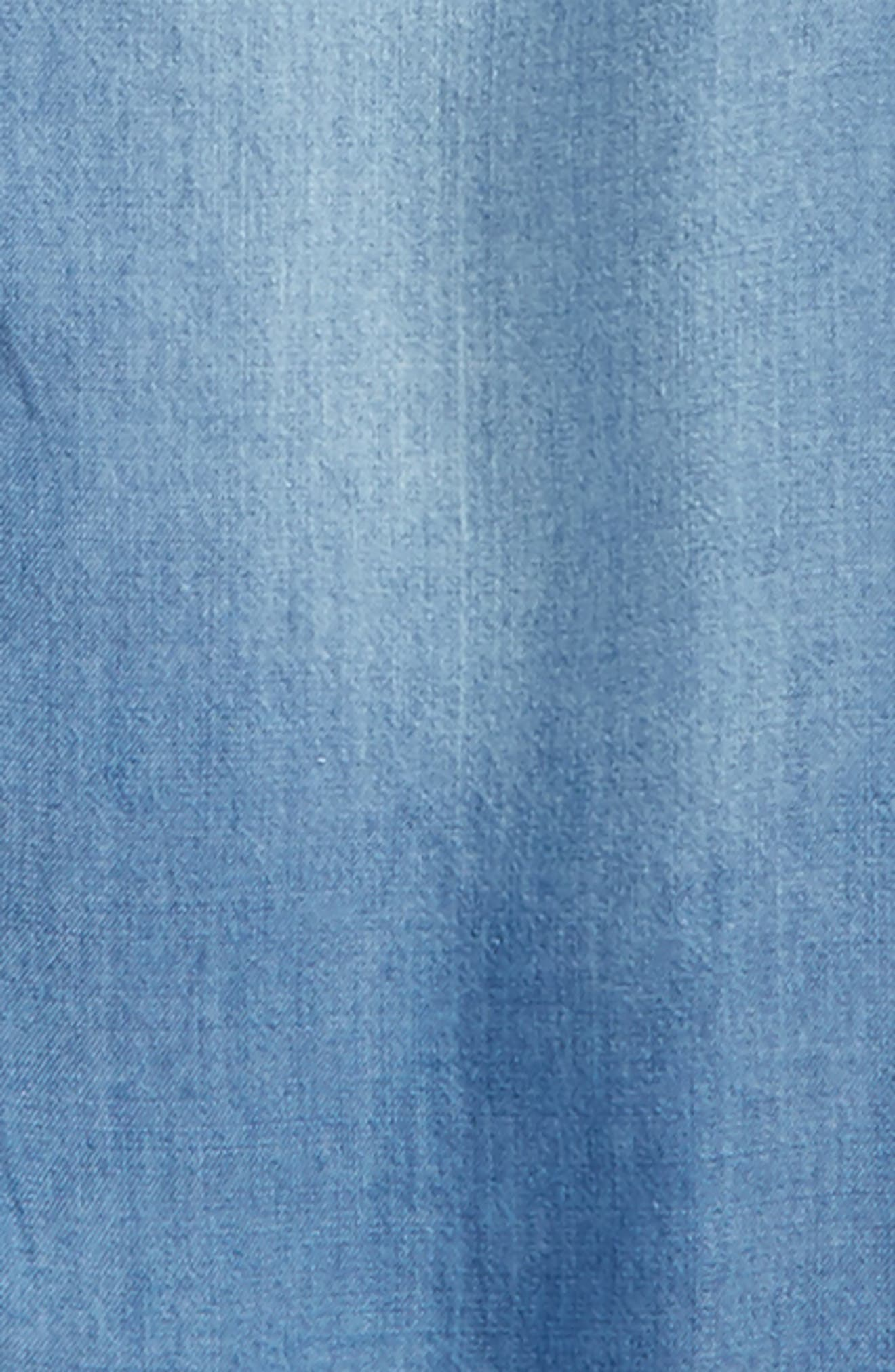 Ruffle Chambray Shirt,                             Alternate thumbnail 2, color,                             Medium Blue Wash