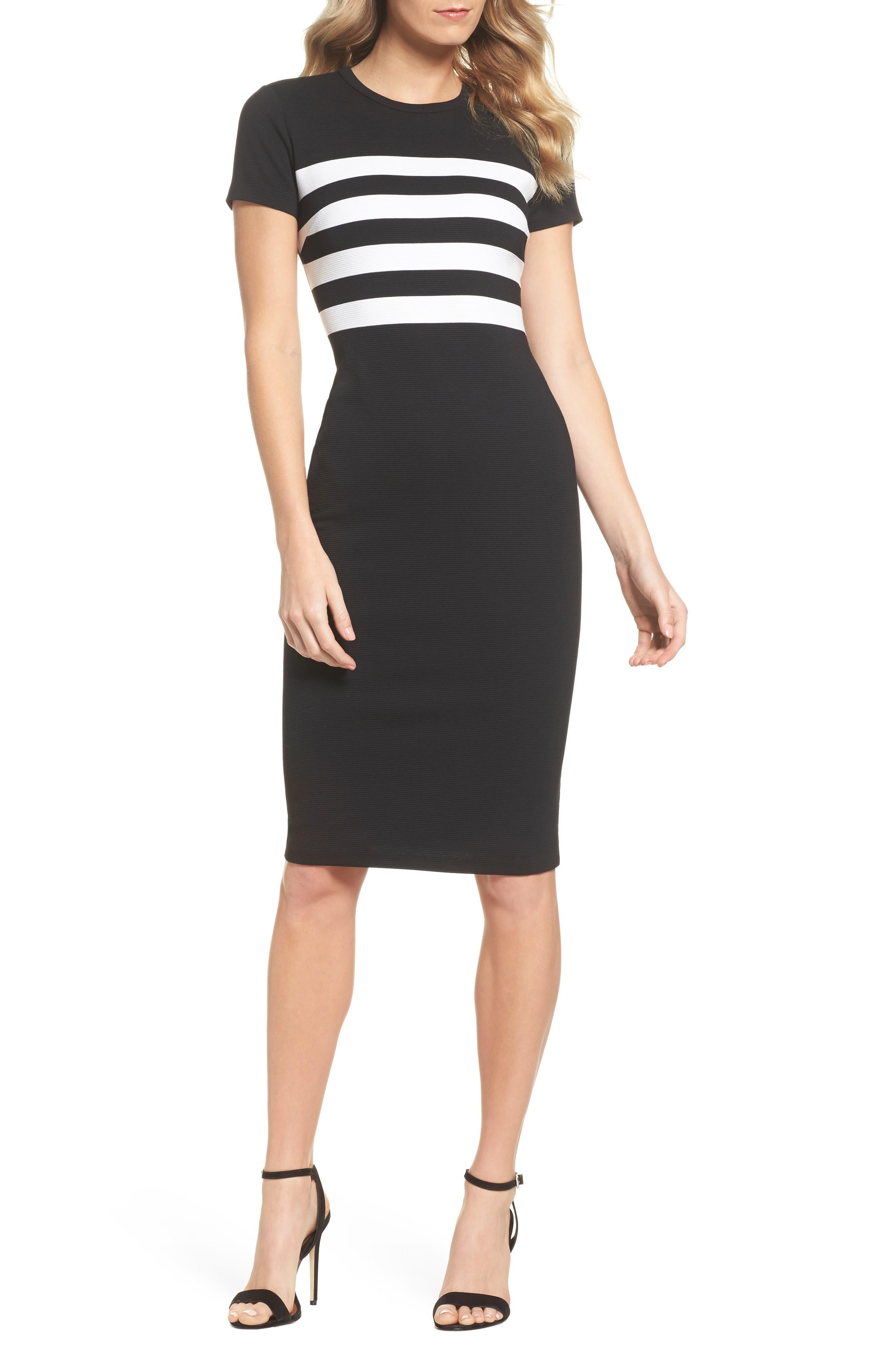 Stripe Ottoman Sheath Dress,                             Main thumbnail 1, color,                             Black/ White