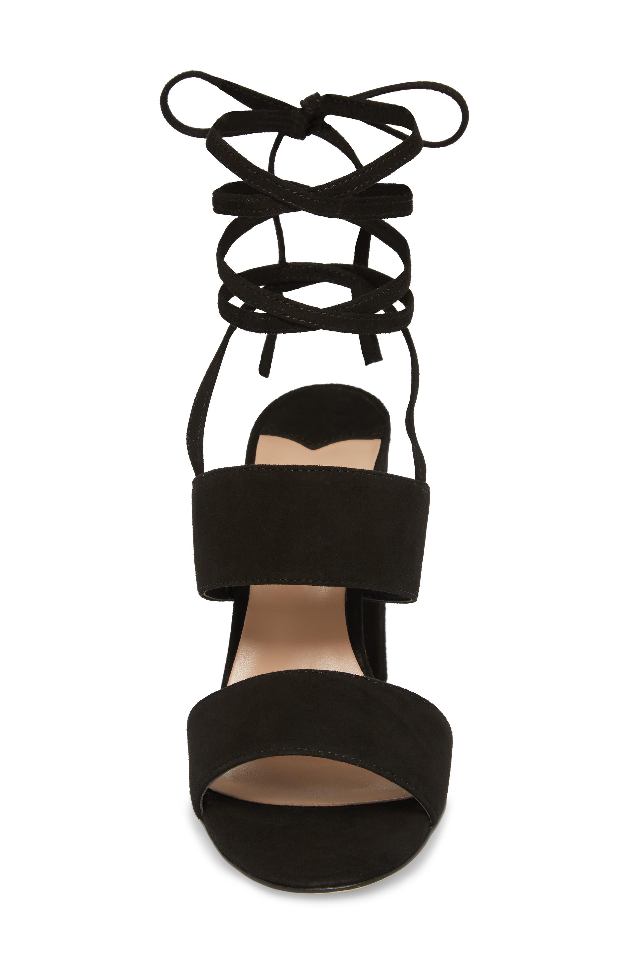Kiko Ankle Tie Sandal,                             Alternate thumbnail 4, color,                             Black Suede