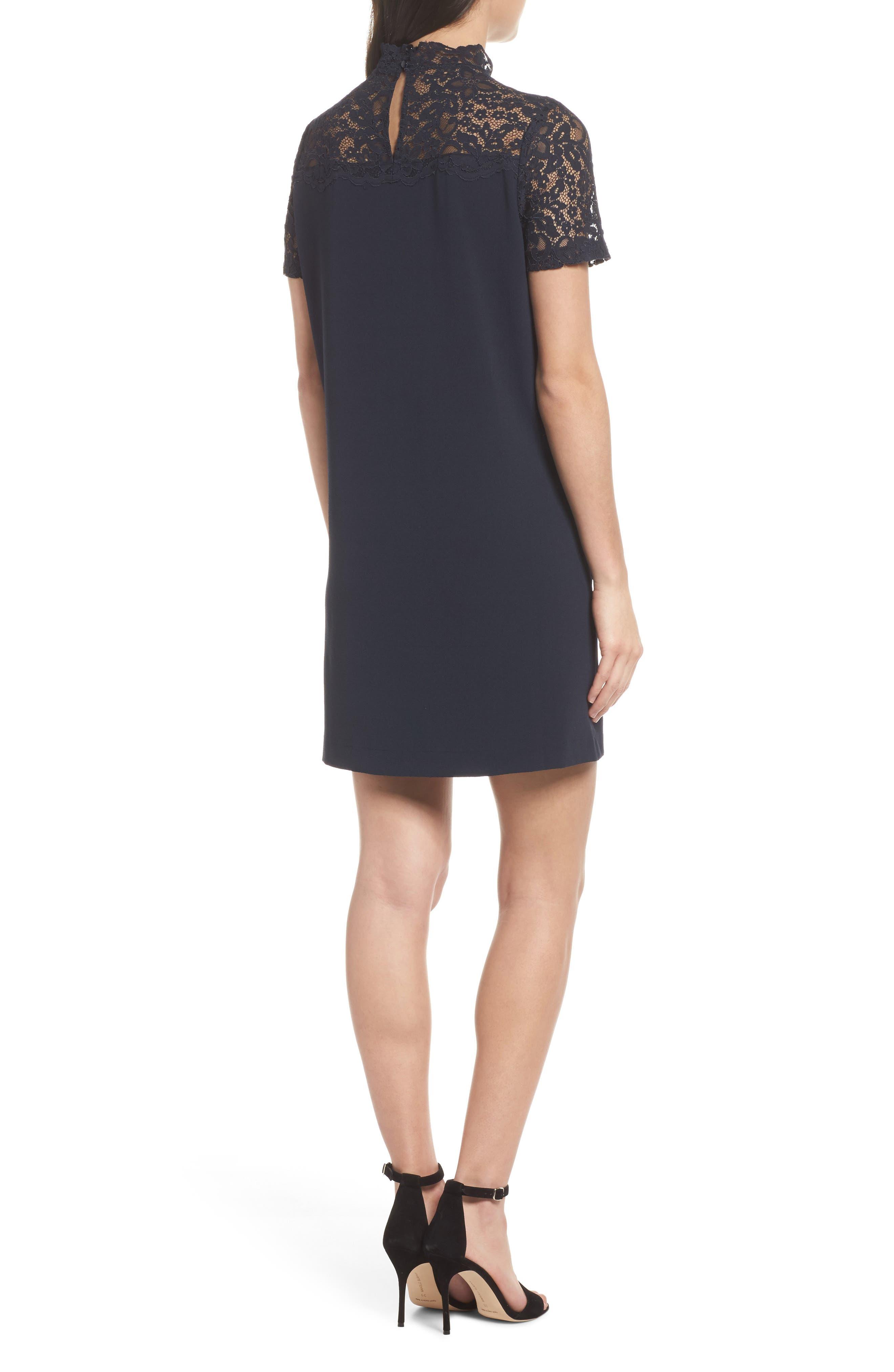 Portofino Lace Detail Shift Dress,                             Alternate thumbnail 2, color,                             Navy