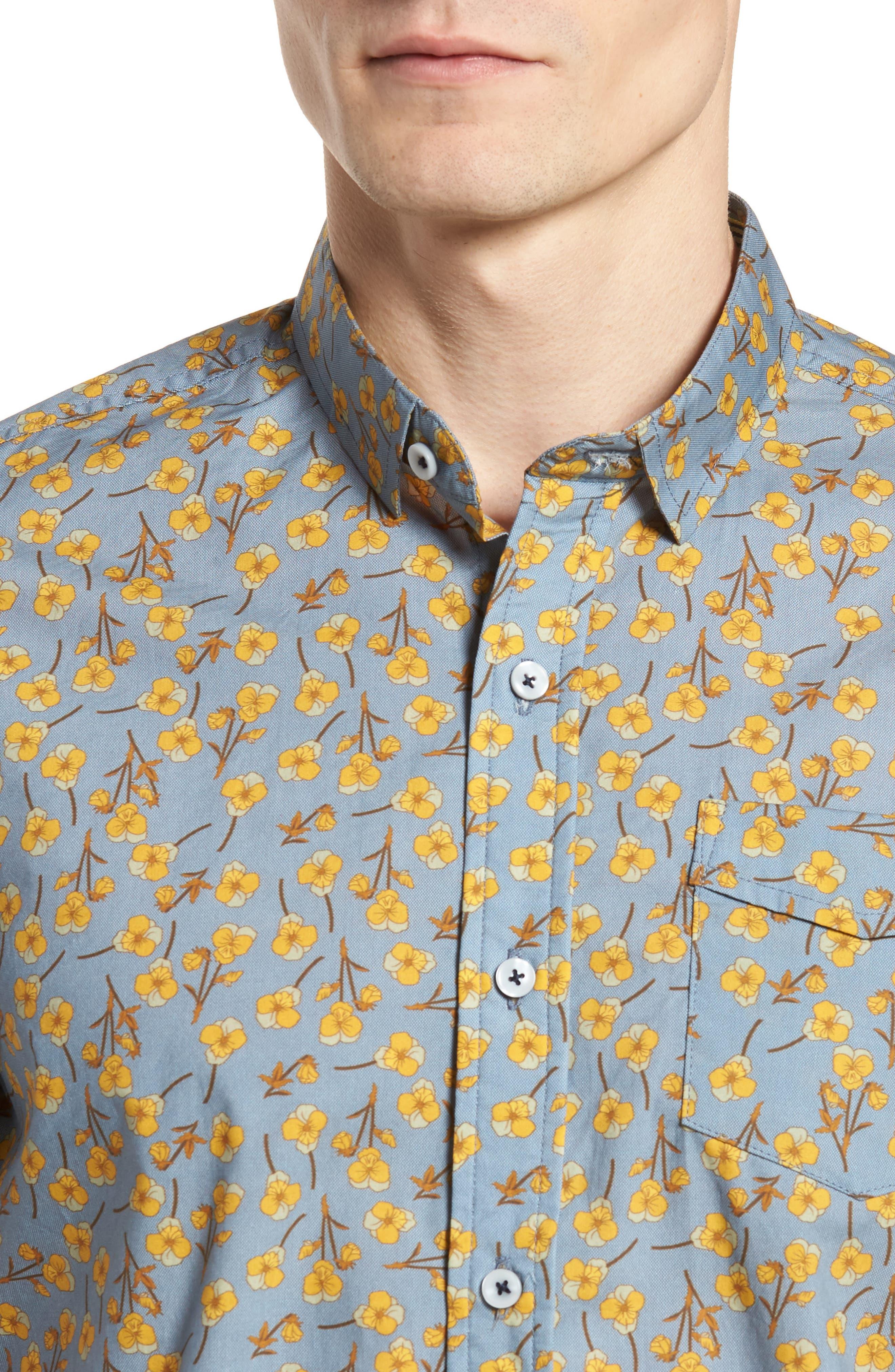 Golden Flower Shirt,                             Alternate thumbnail 2, color,                             Gold