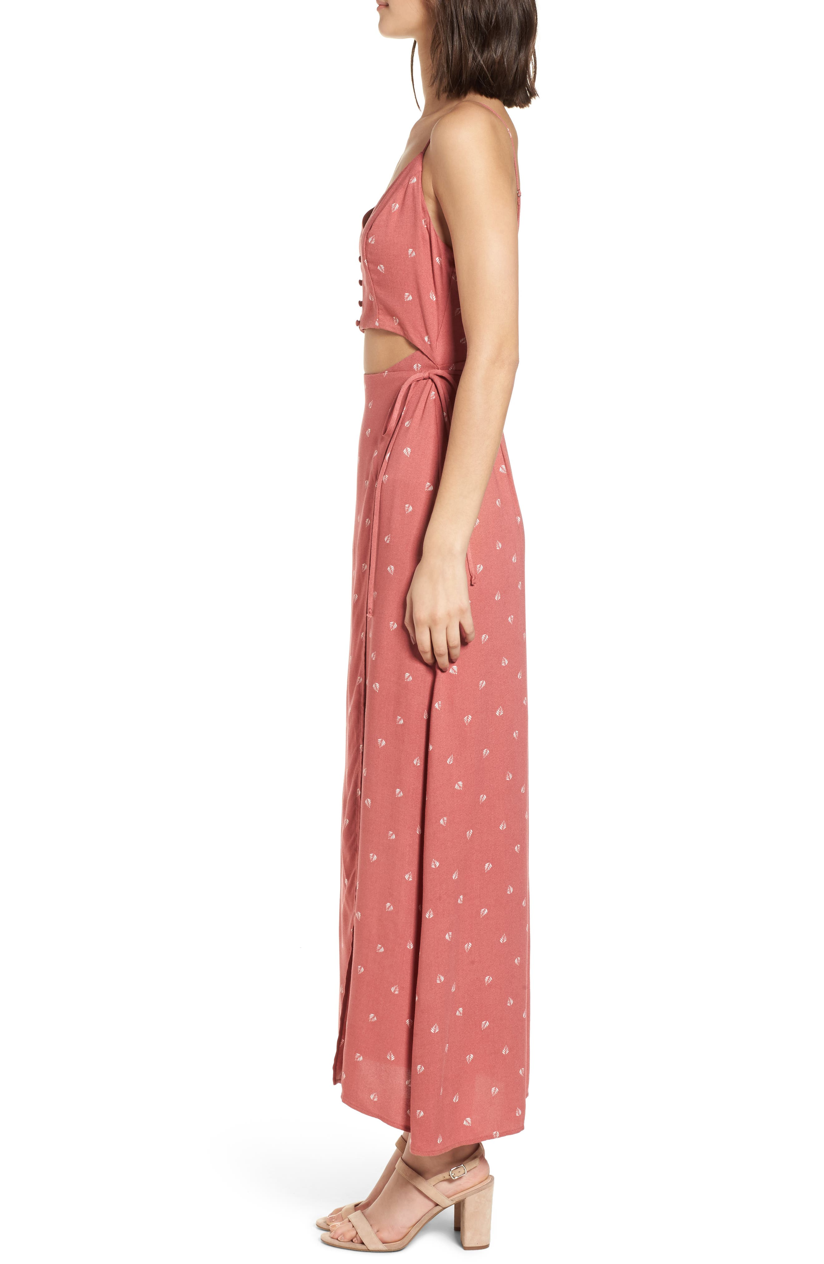 Cutout Wrap Front Maxi Dress,                             Alternate thumbnail 3, color,                             Mauve Leaf