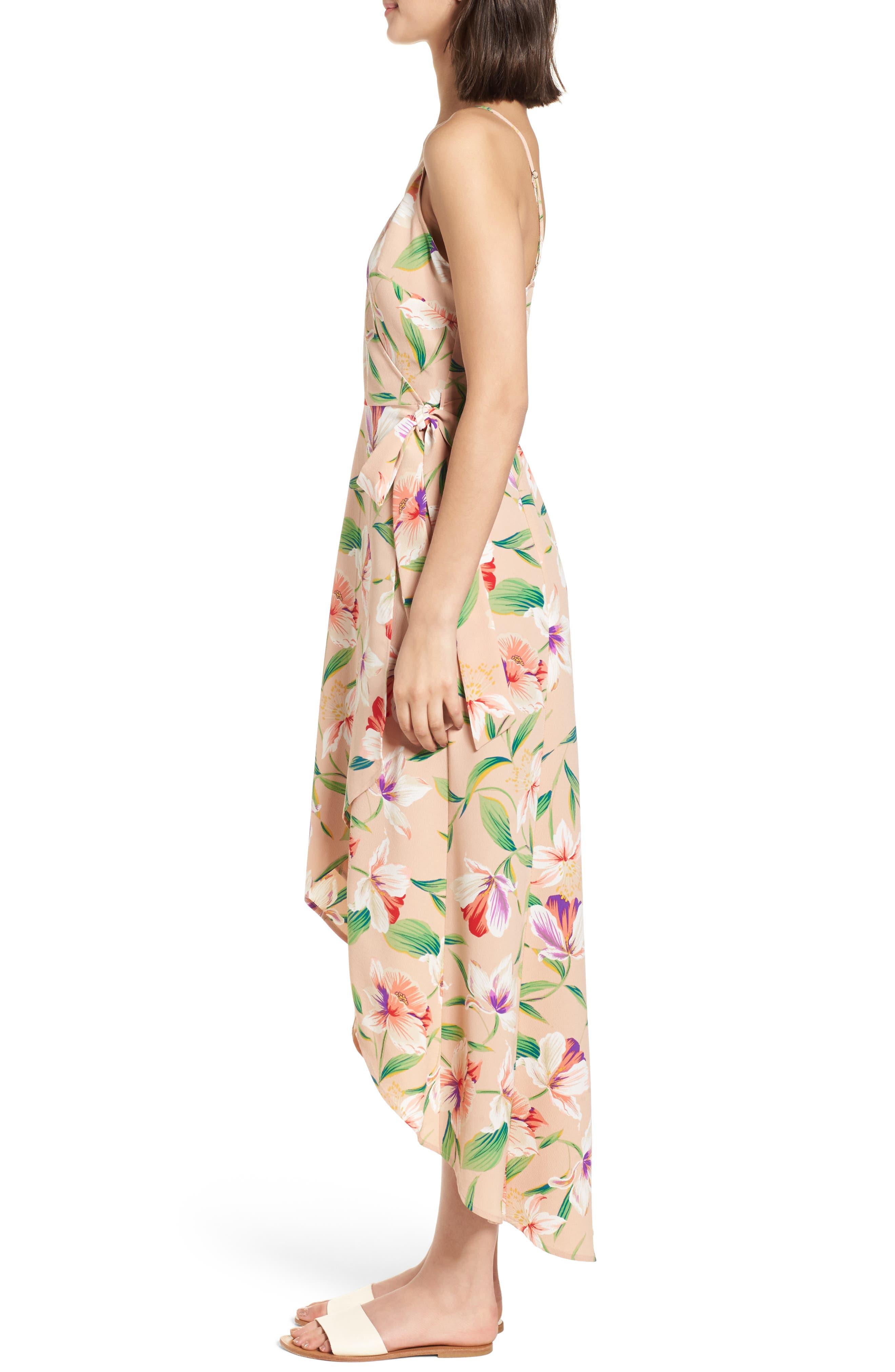 Floral Wrap Maxi Dress,                             Alternate thumbnail 3, color,                             Mocha-Multi Floral