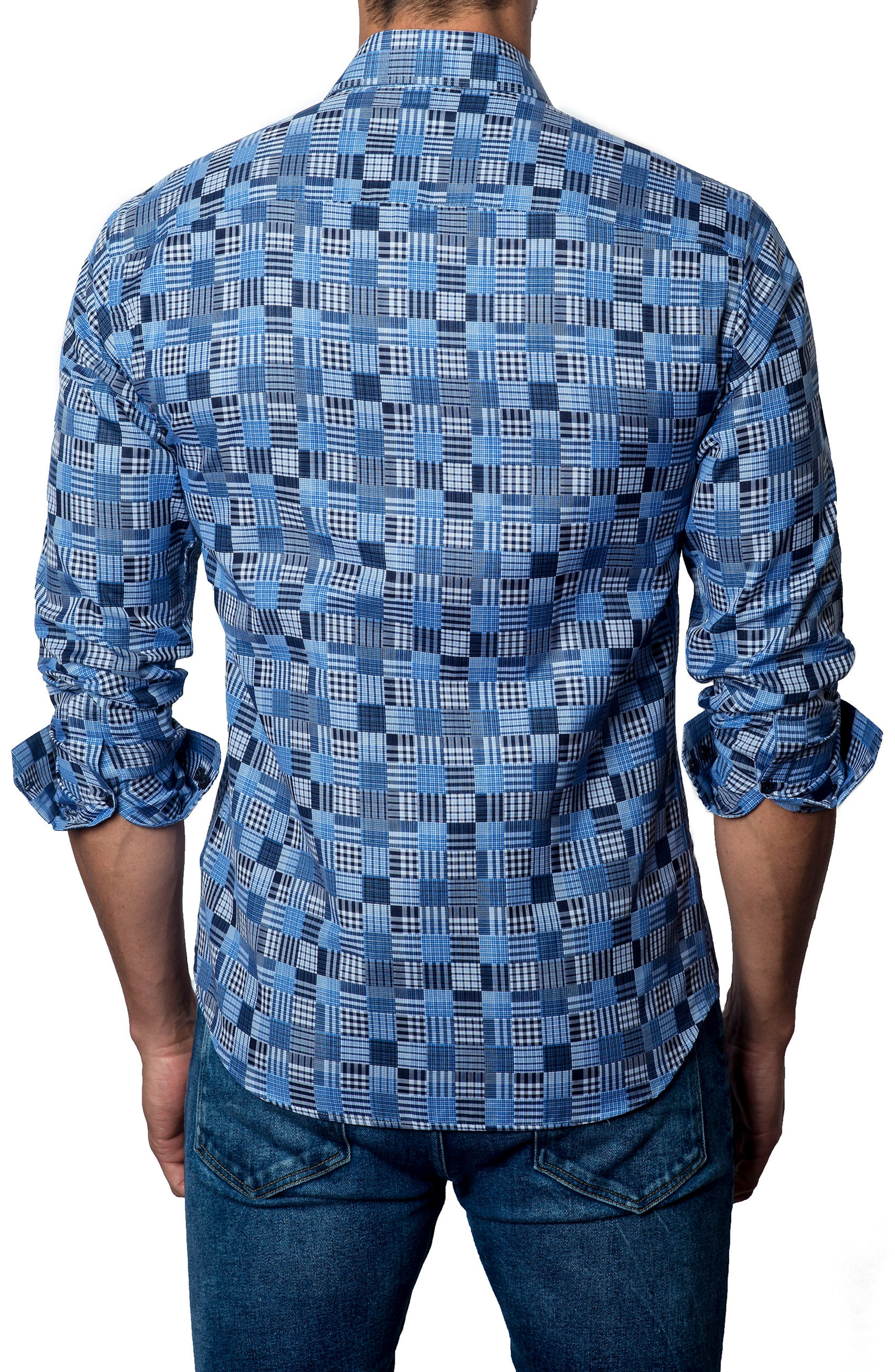 Slim Fit Madras Sport Shirt,                             Alternate thumbnail 2, color,                             Blue / Navy