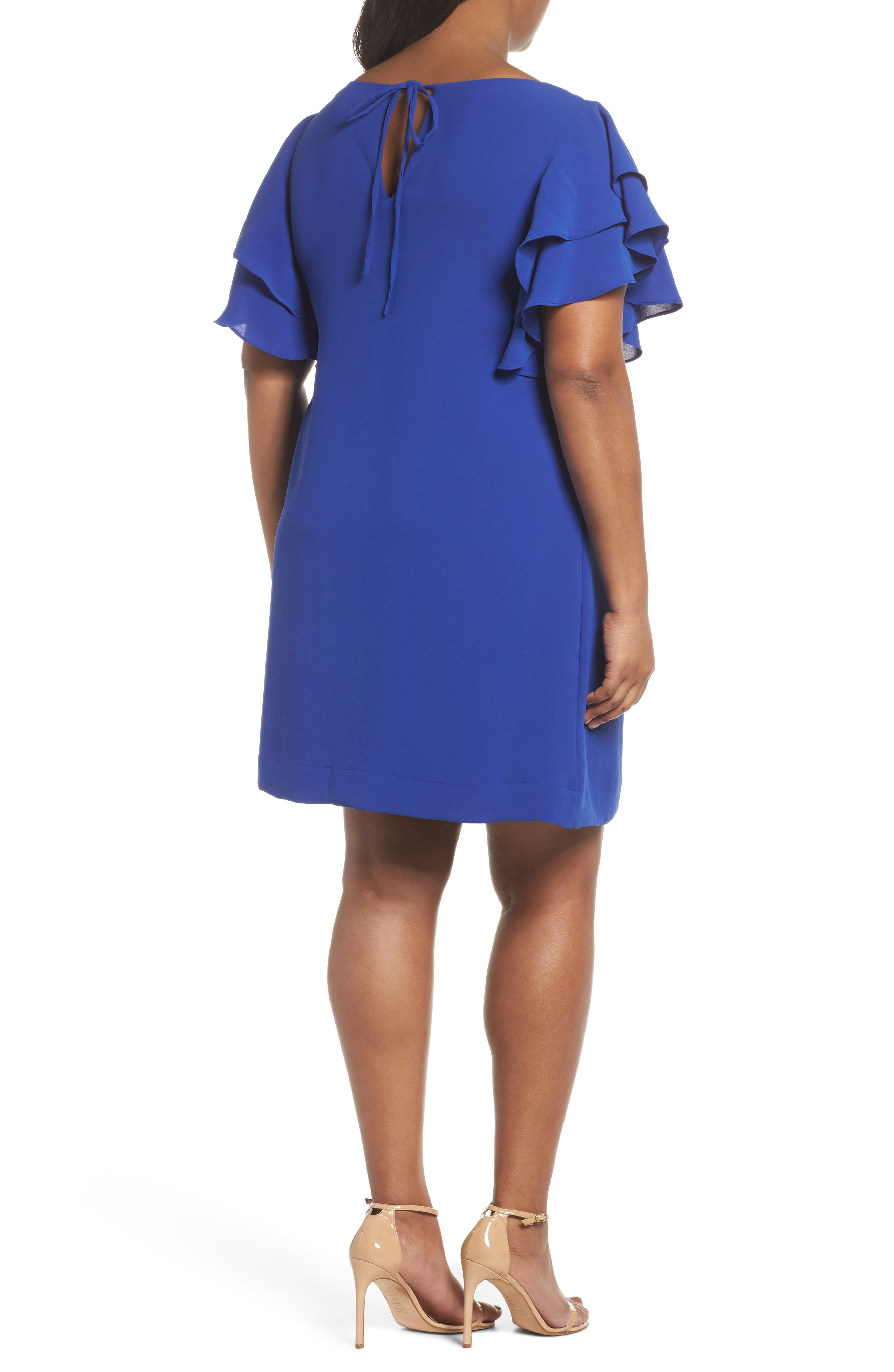 Ruffle Sleeve Crepe Shift Dress,                             Alternate thumbnail 2, color,                             Cool Violet