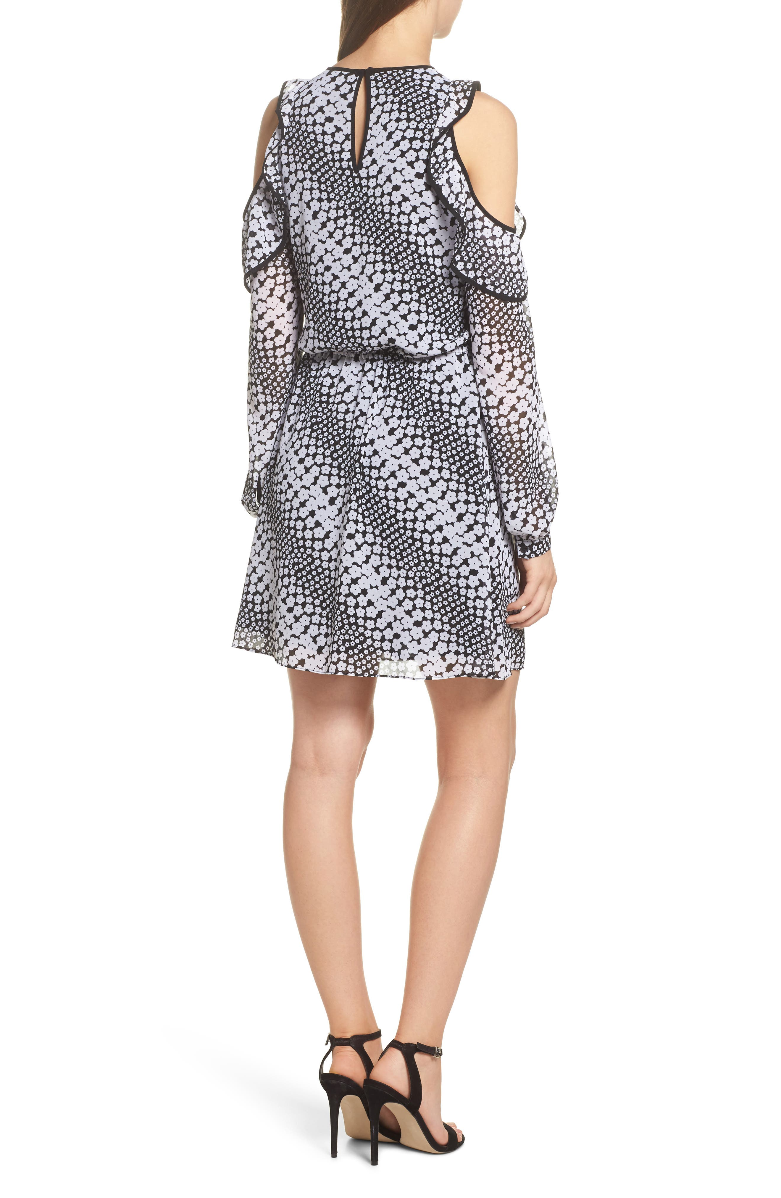 Cold Shoulder Blouson Dress,                             Alternate thumbnail 2, color,                             Black/ White