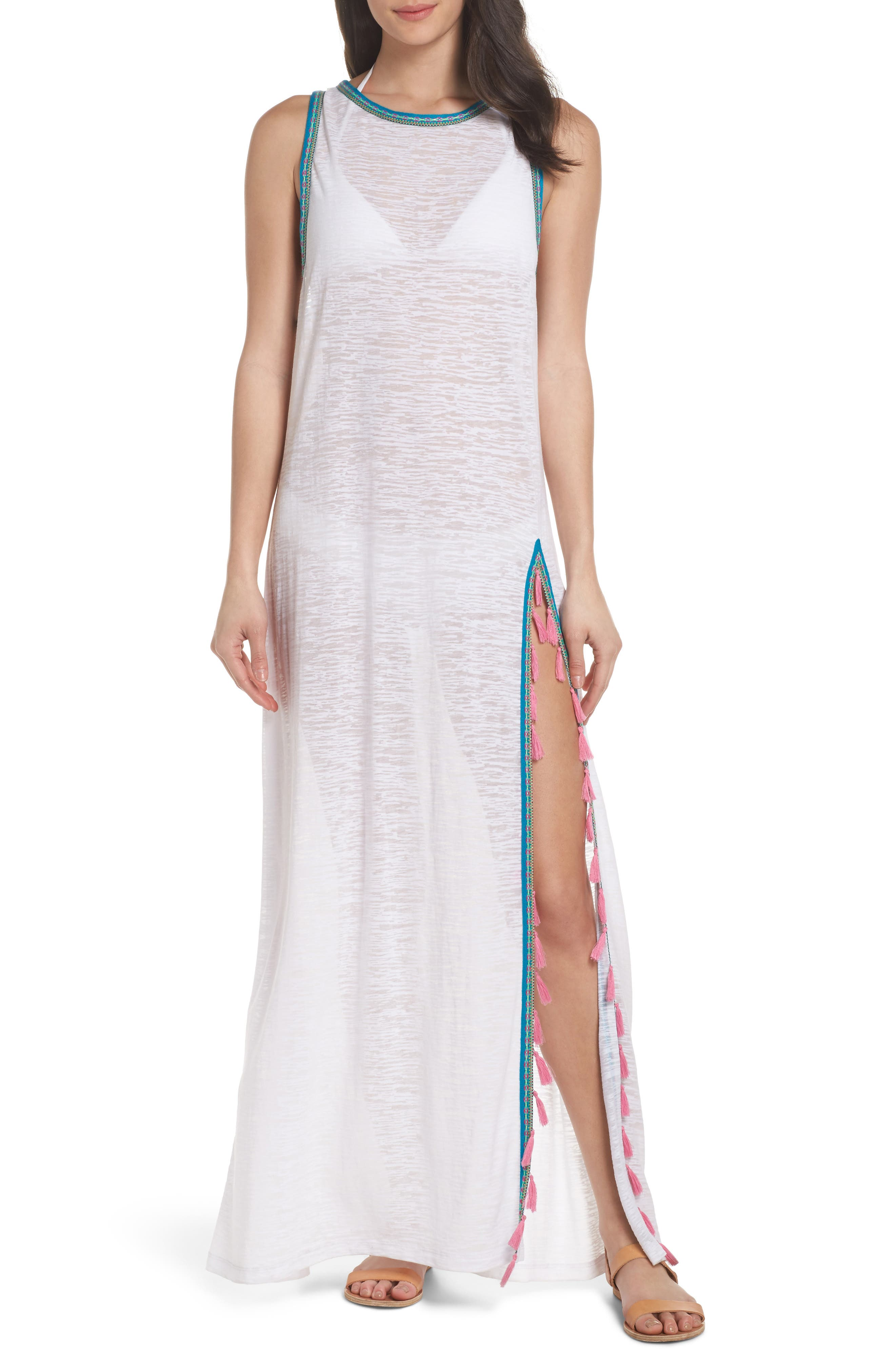 Tassel Slit Cover-Up Maxi Dress,                             Main thumbnail 1, color,                             White