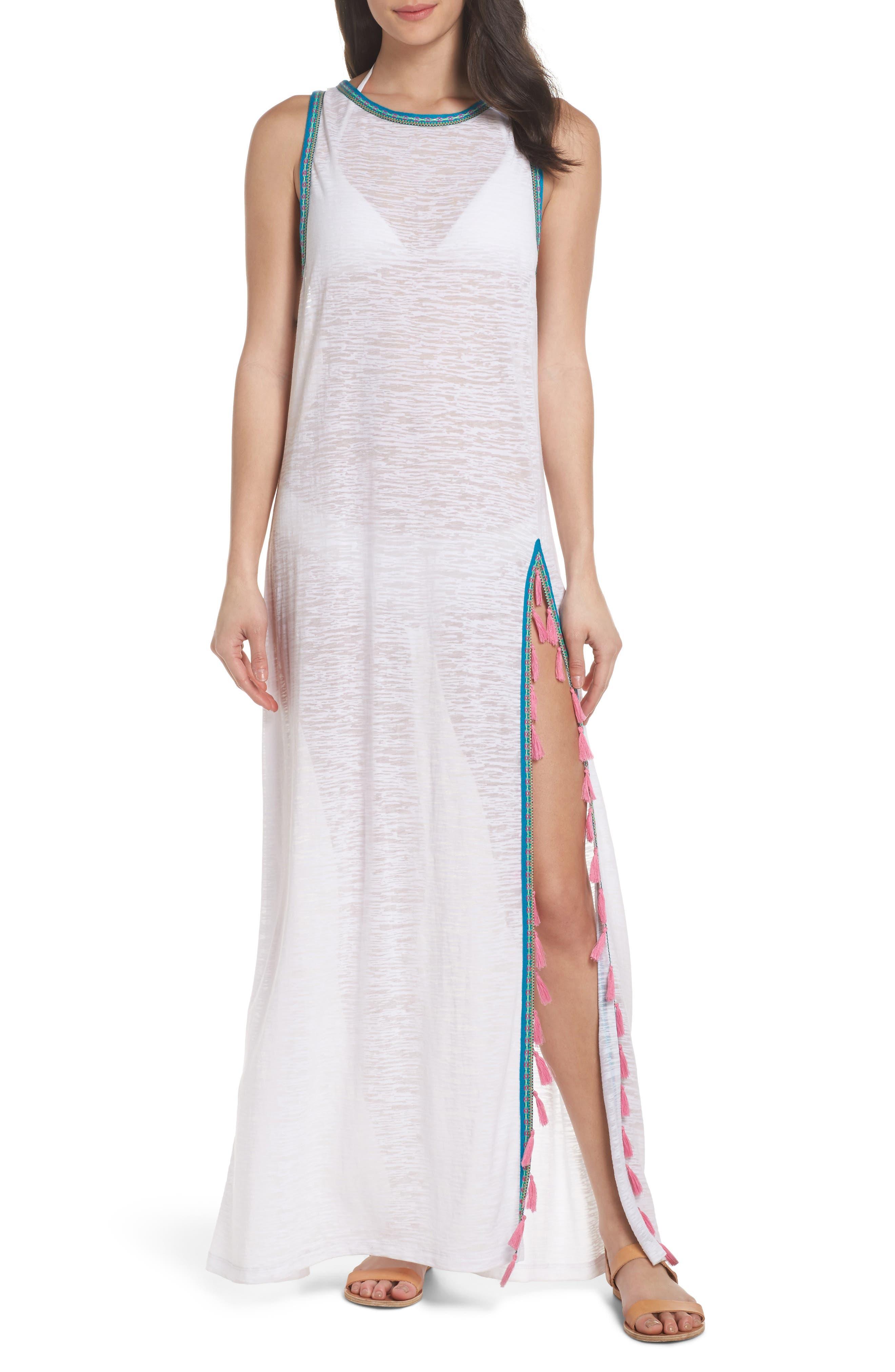 Tassel Slit Cover-Up Maxi Dress,                         Main,                         color, White