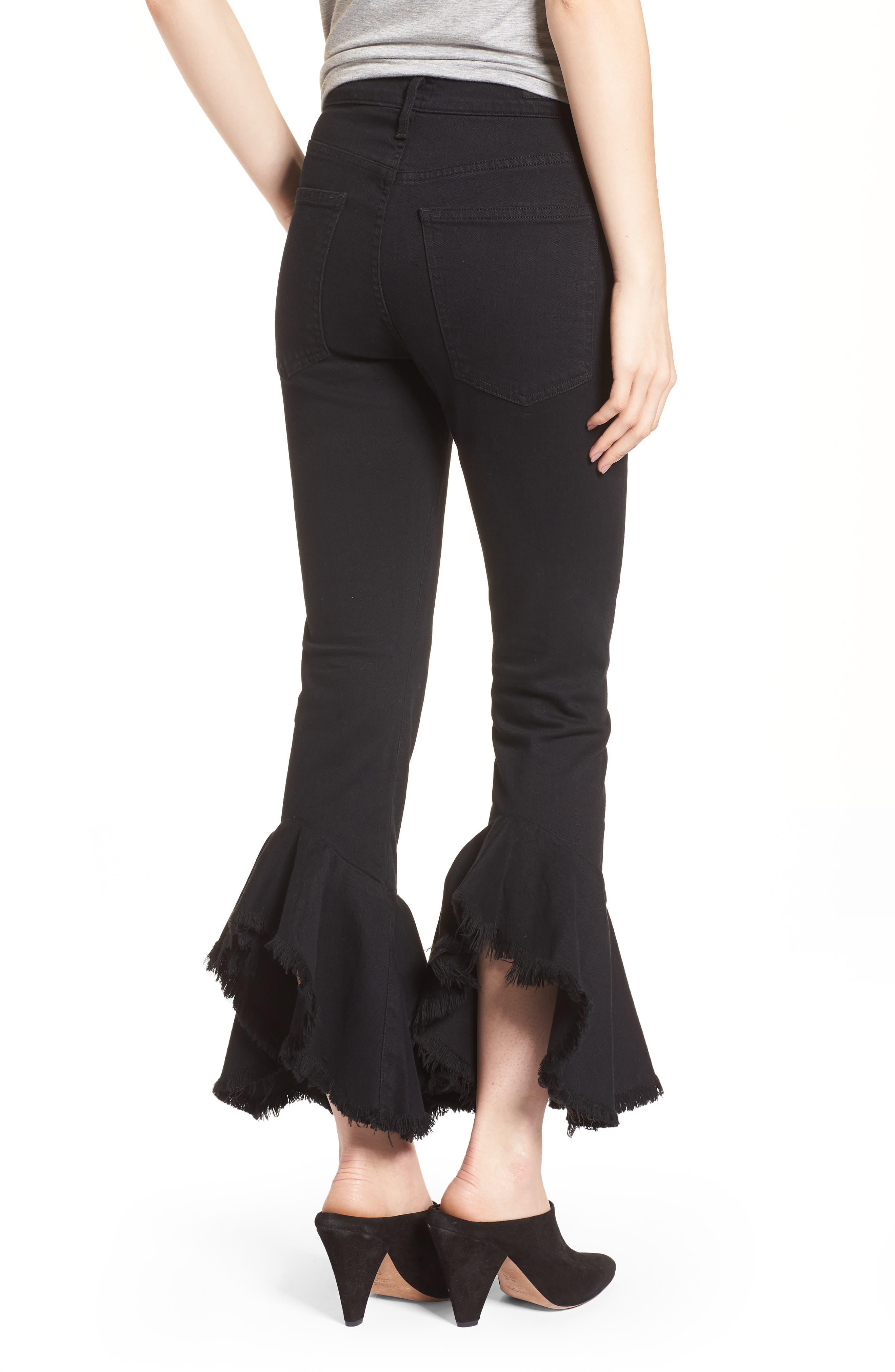 Drew Flounce Hem Crop Jeans,                             Alternate thumbnail 4, color,                             Soiree Black