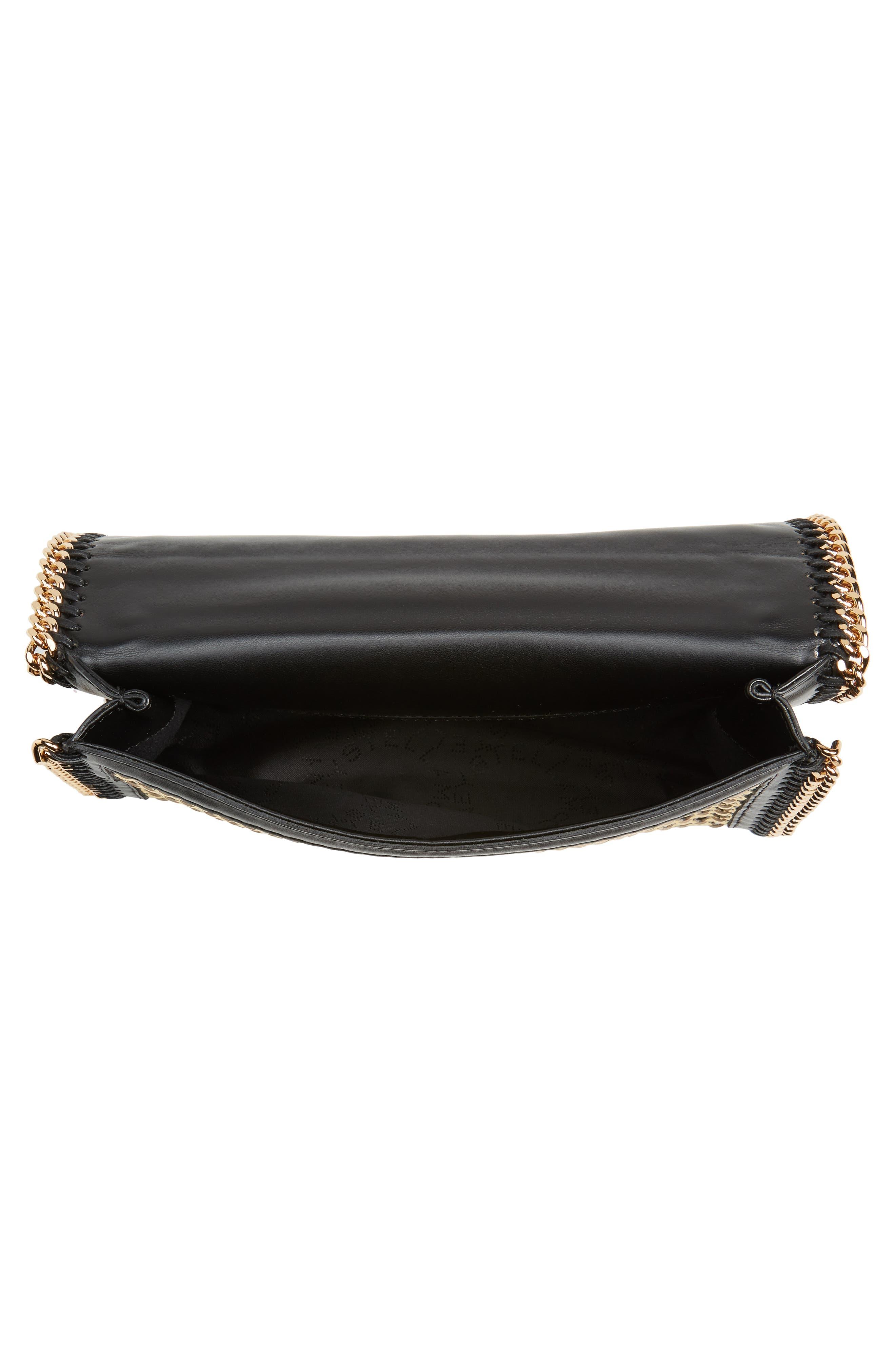 Woven Faux Leather Flap Shoulder Bag,                             Alternate thumbnail 4, color,                             Black