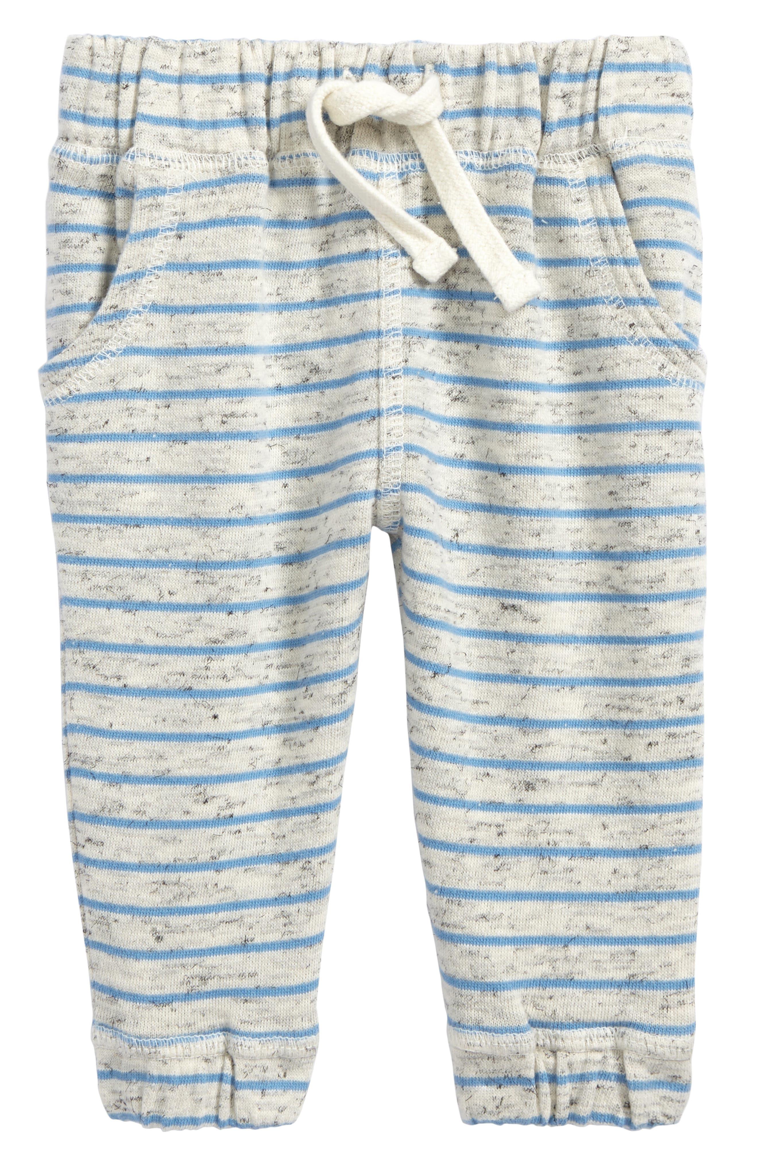 Terry Stripe Jogger Pants,                             Main thumbnail 1, color,                             Ivory Egret- Blue Stripe