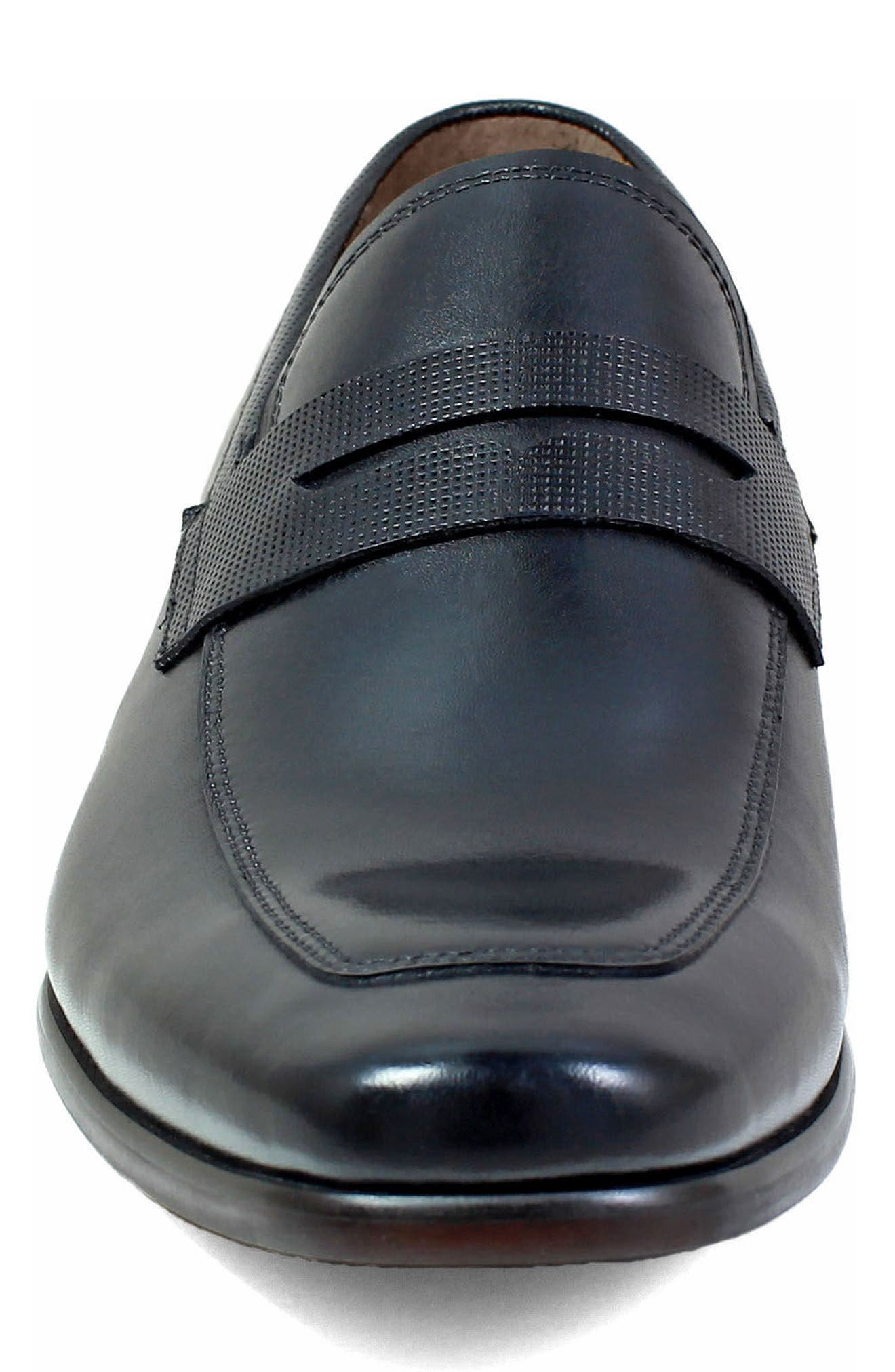 Postino Apron Toe Textured Penny Loafer,                             Alternate thumbnail 4, color,                             Black Leather