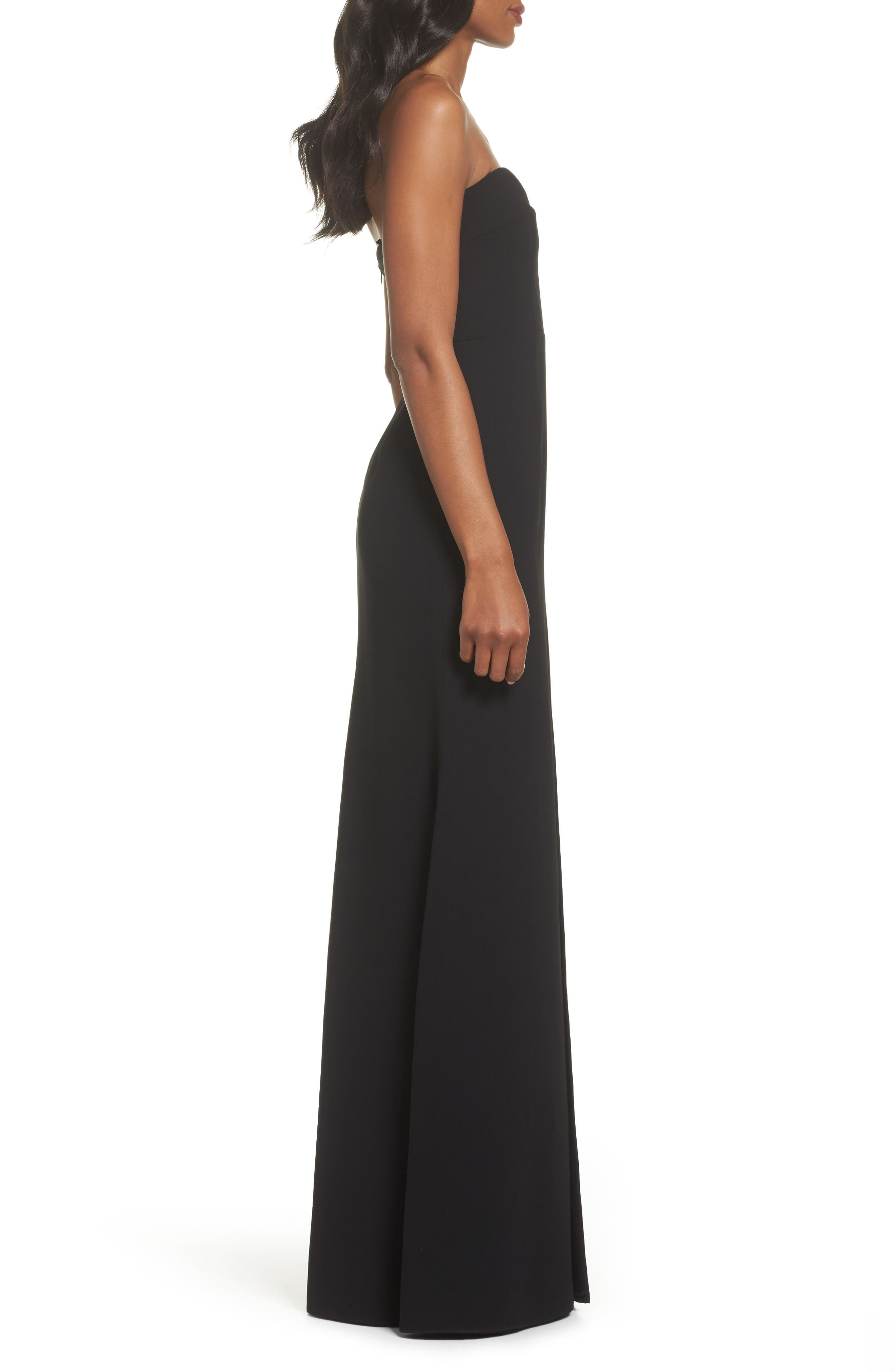 Illusion Inset Strapless Gown,                             Alternate thumbnail 3, color,                             Black