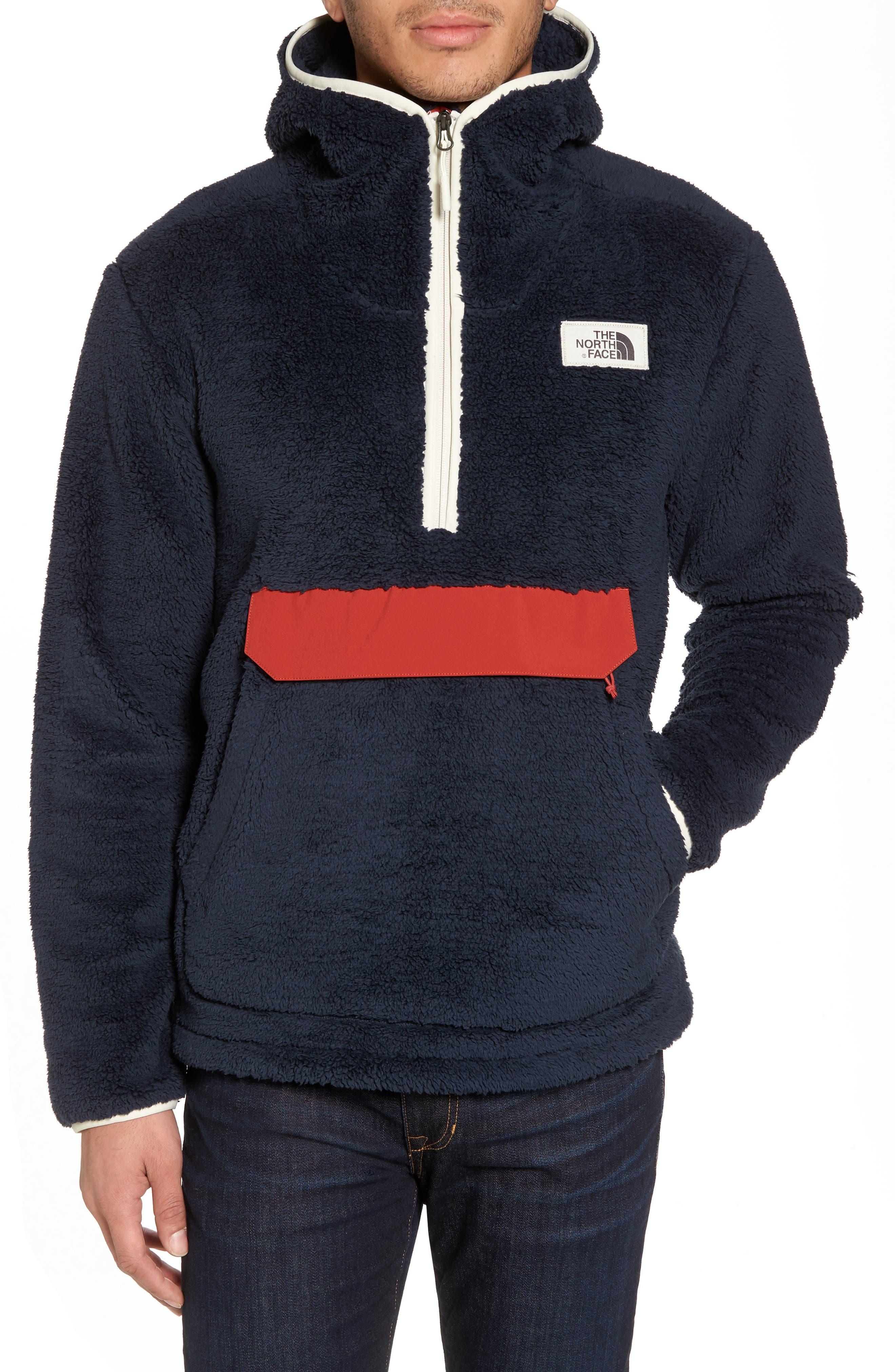 Campshire High Pile Fleece Pullover Hoodie,                         Main,                         color, Urban Navy/ Bossa Nova Red