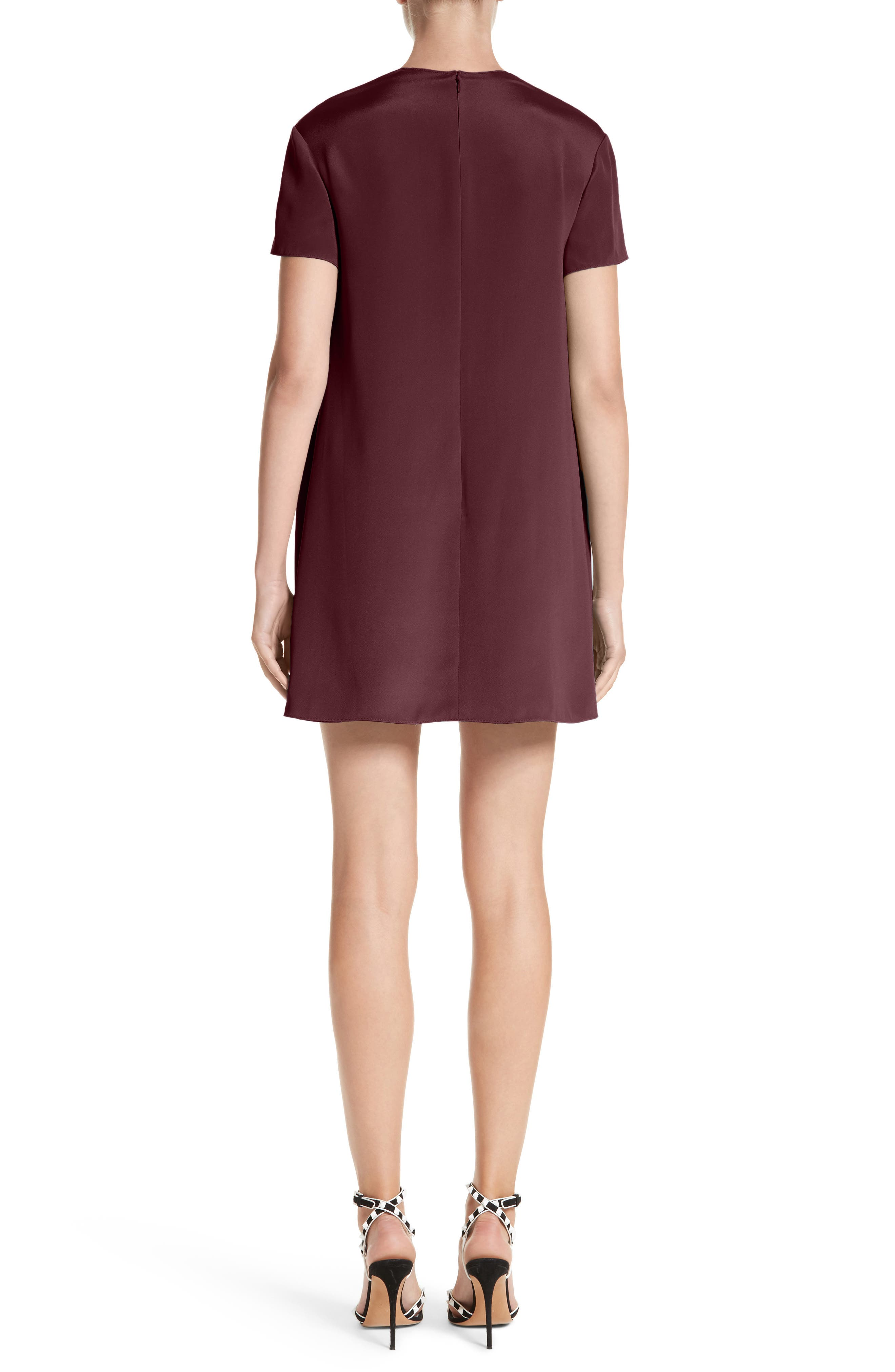 Silk Shift Dress,                             Alternate thumbnail 2, color,                             Burgundy / Ivory
