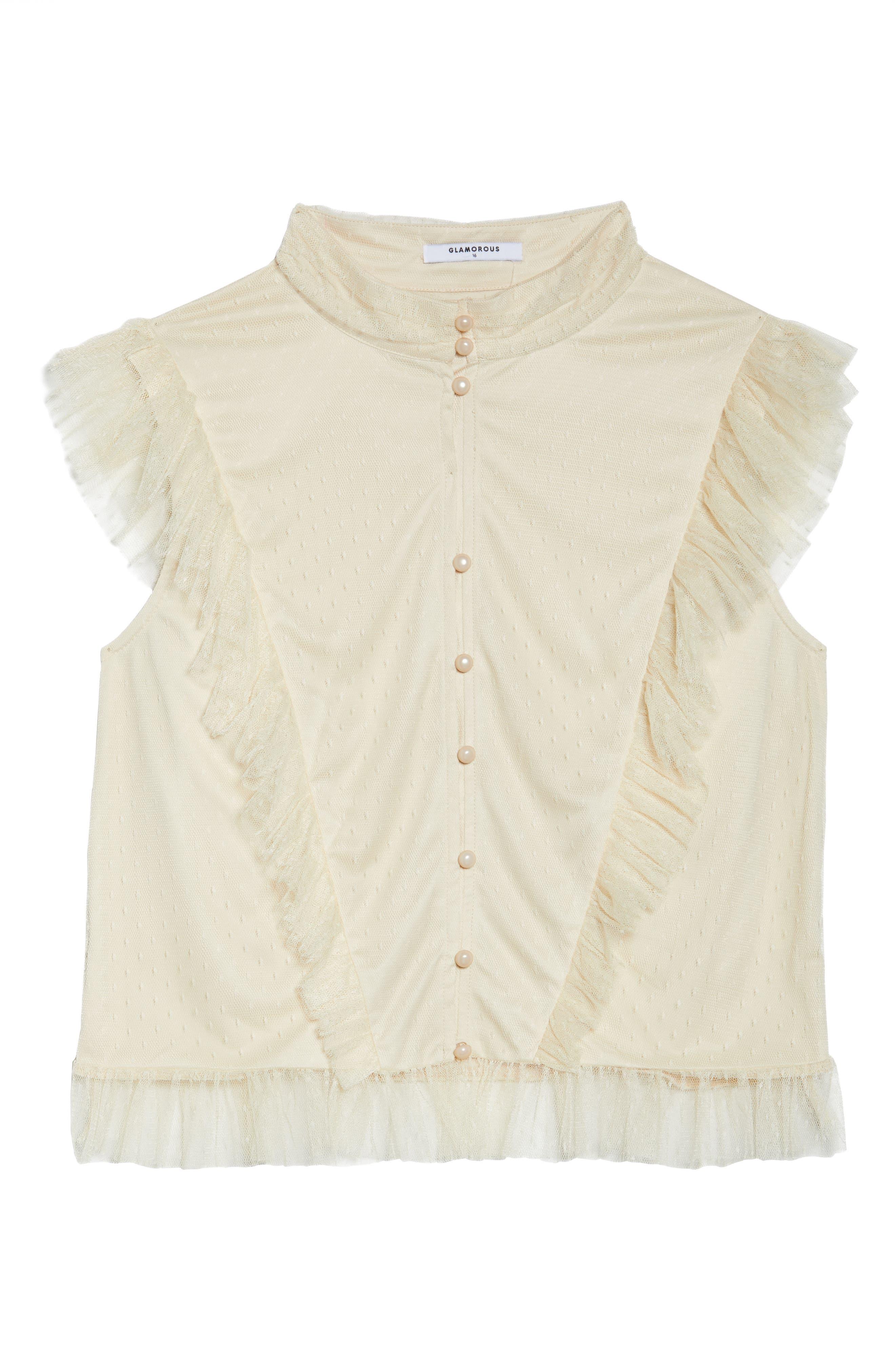 Ruffle Sheer Hem Maxi Dress,                             Alternate thumbnail 7, color,                             Cream