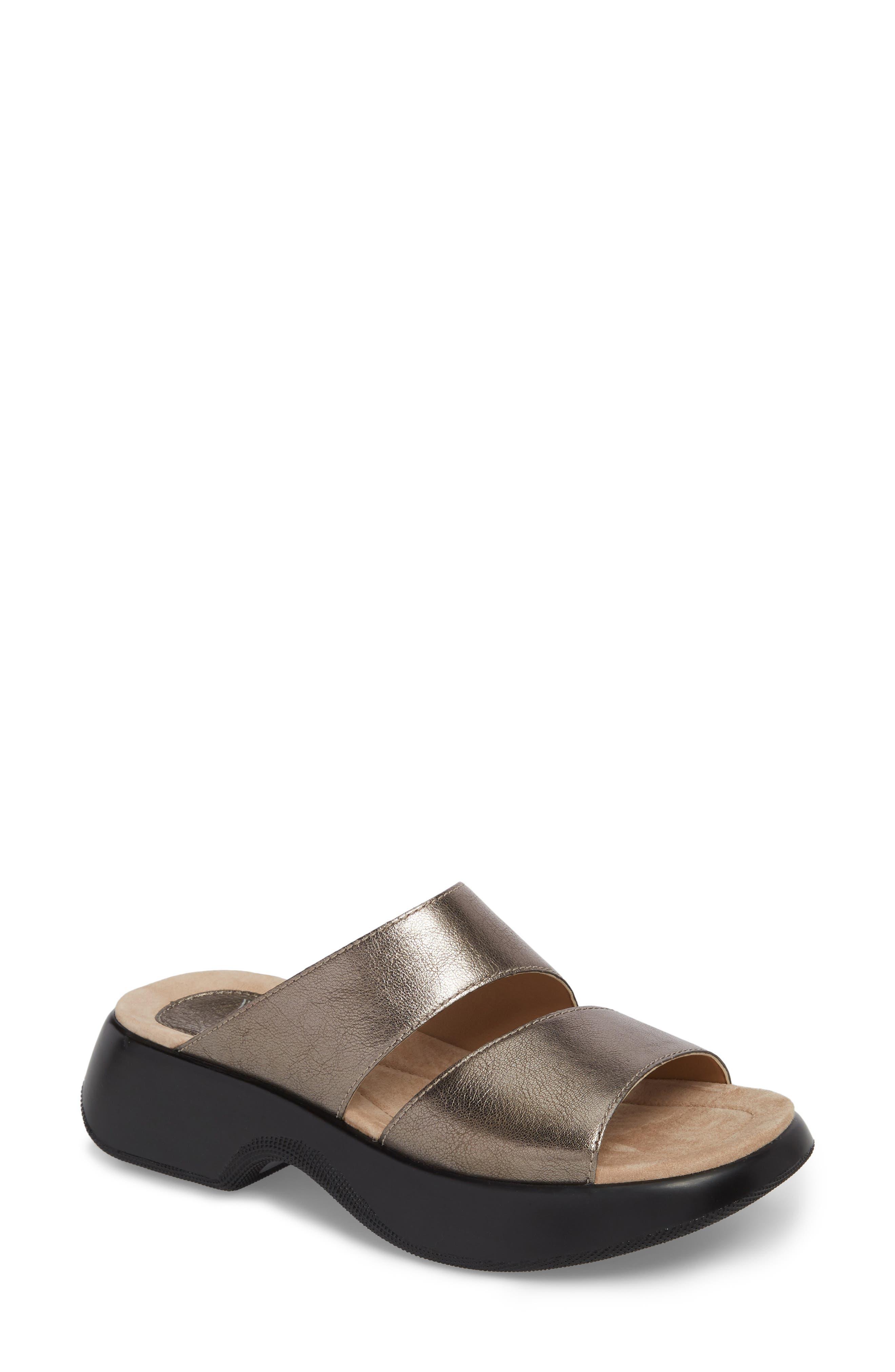 Lana Slide Sandal,                         Main,                         color, Pewter Leather