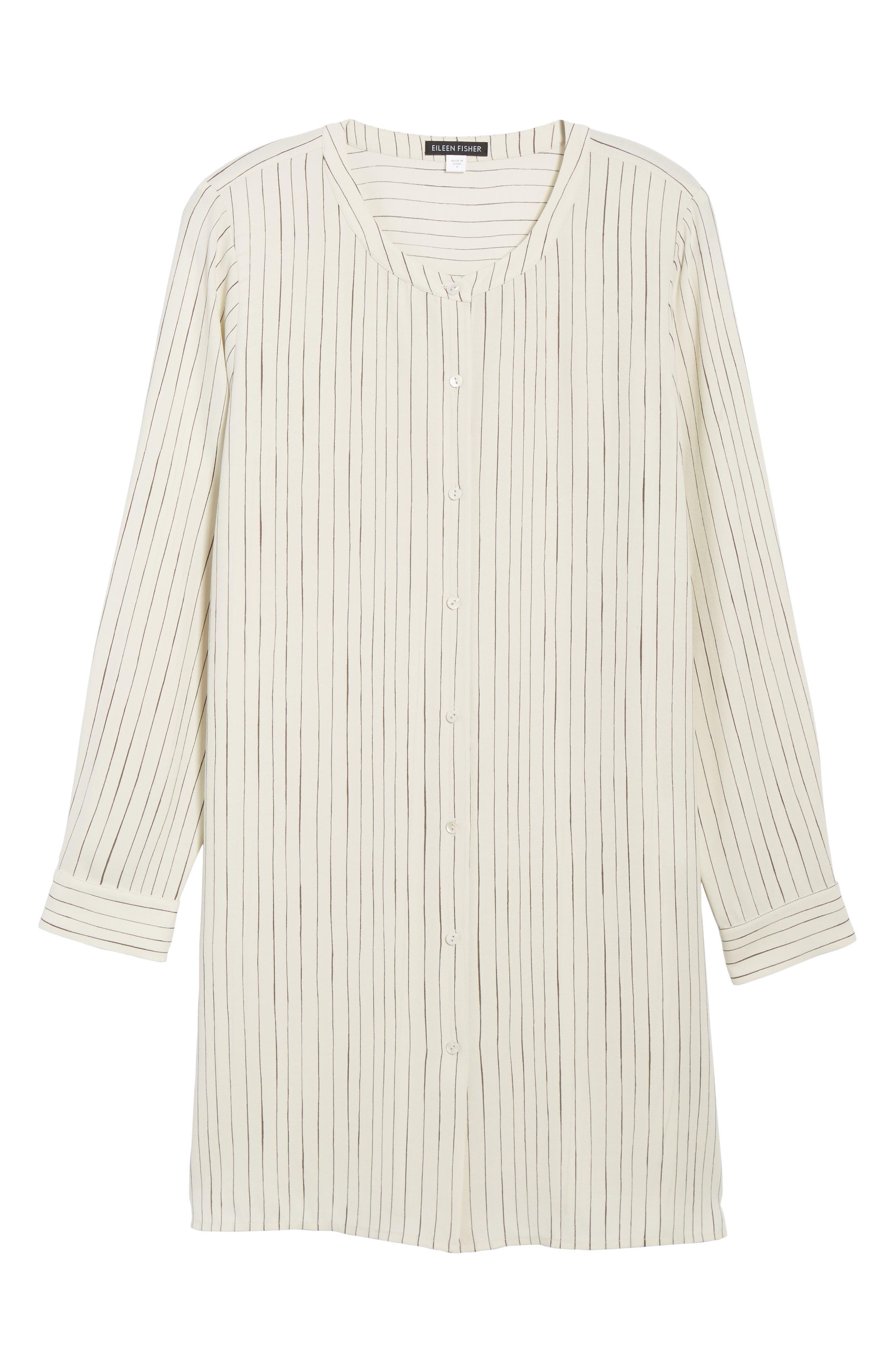 Stripe Silk Georgette Crepe Long Shirt,                             Alternate thumbnail 6, color,                             Bone
