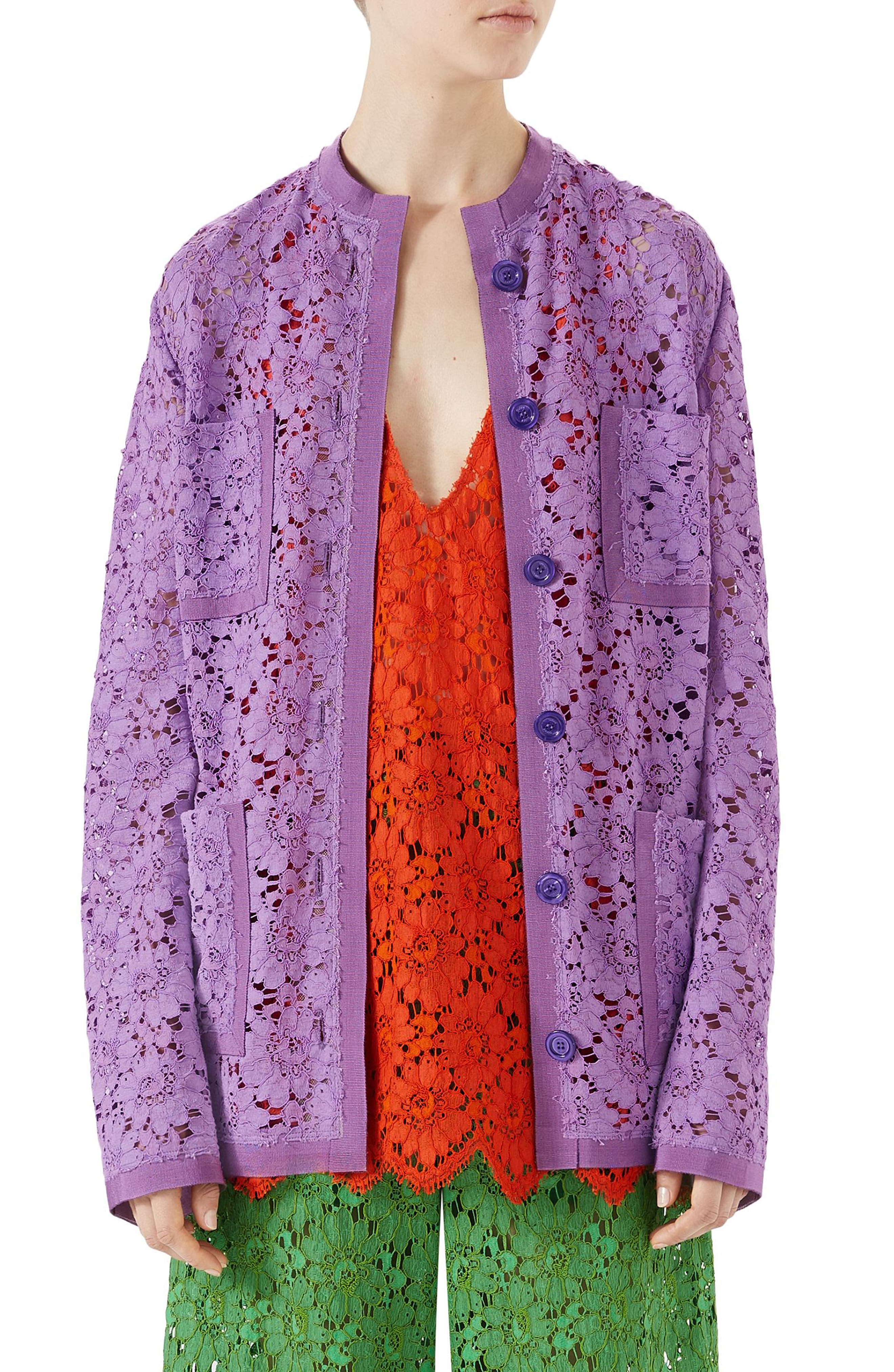 Floral Lace Jacket,                             Main thumbnail 1, color,                             Wisteria Petal Flower