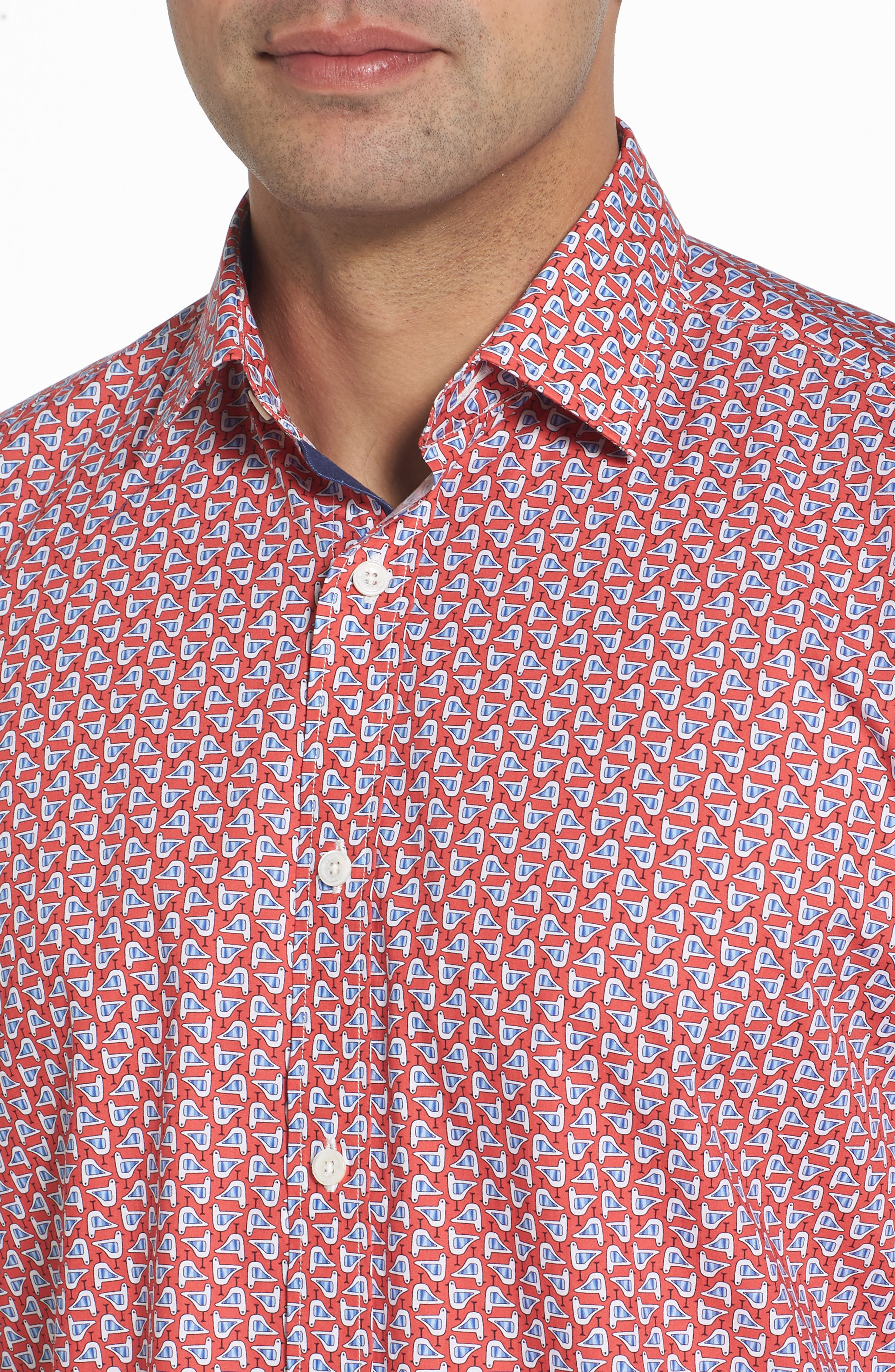 Classic Fit Seagull Print Sport Shirt,                             Alternate thumbnail 4, color,                             Tangerine
