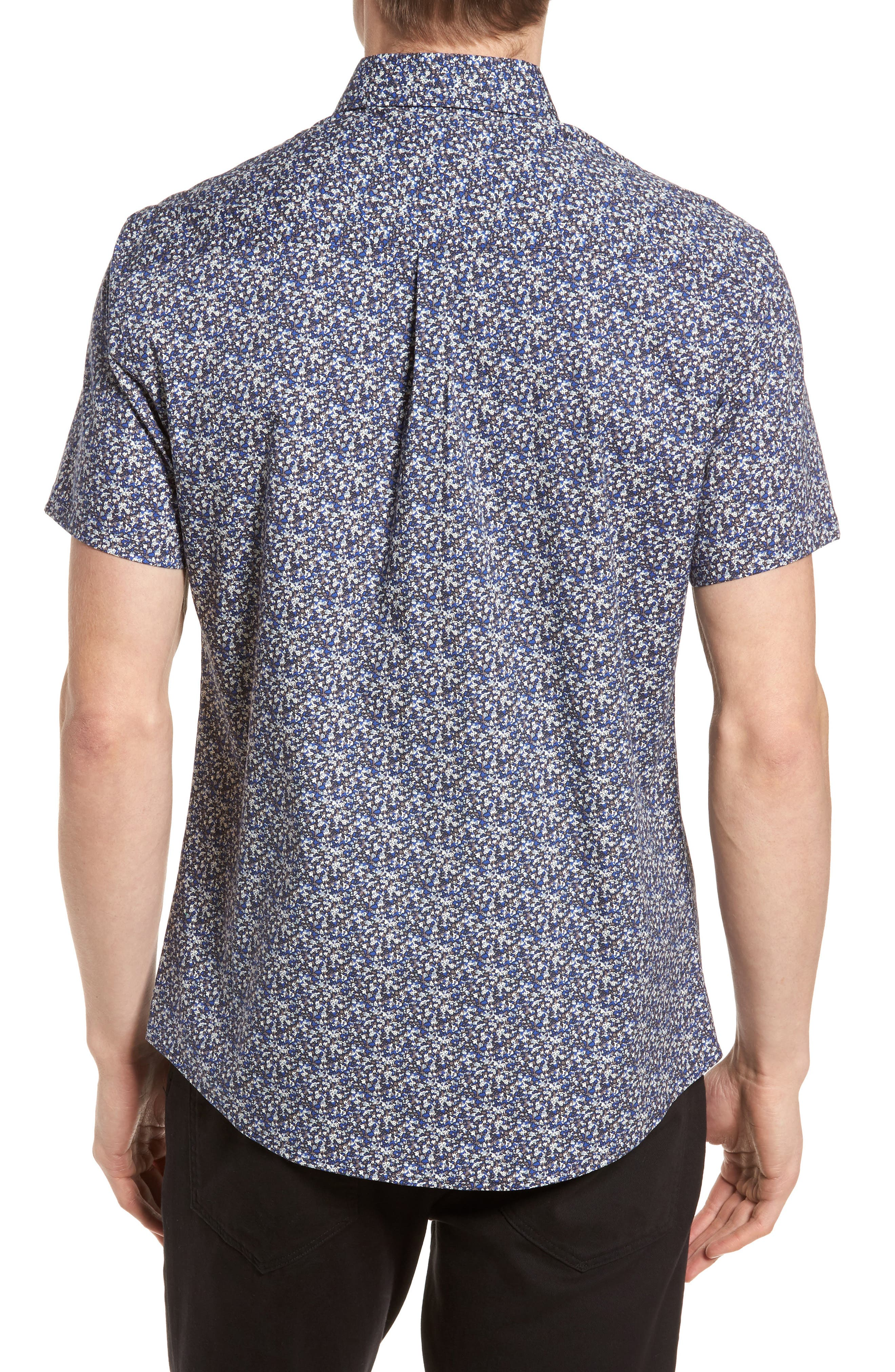Slim Fit Print Sport Shirt,                             Alternate thumbnail 2, color,                             Blue Abstract Floral