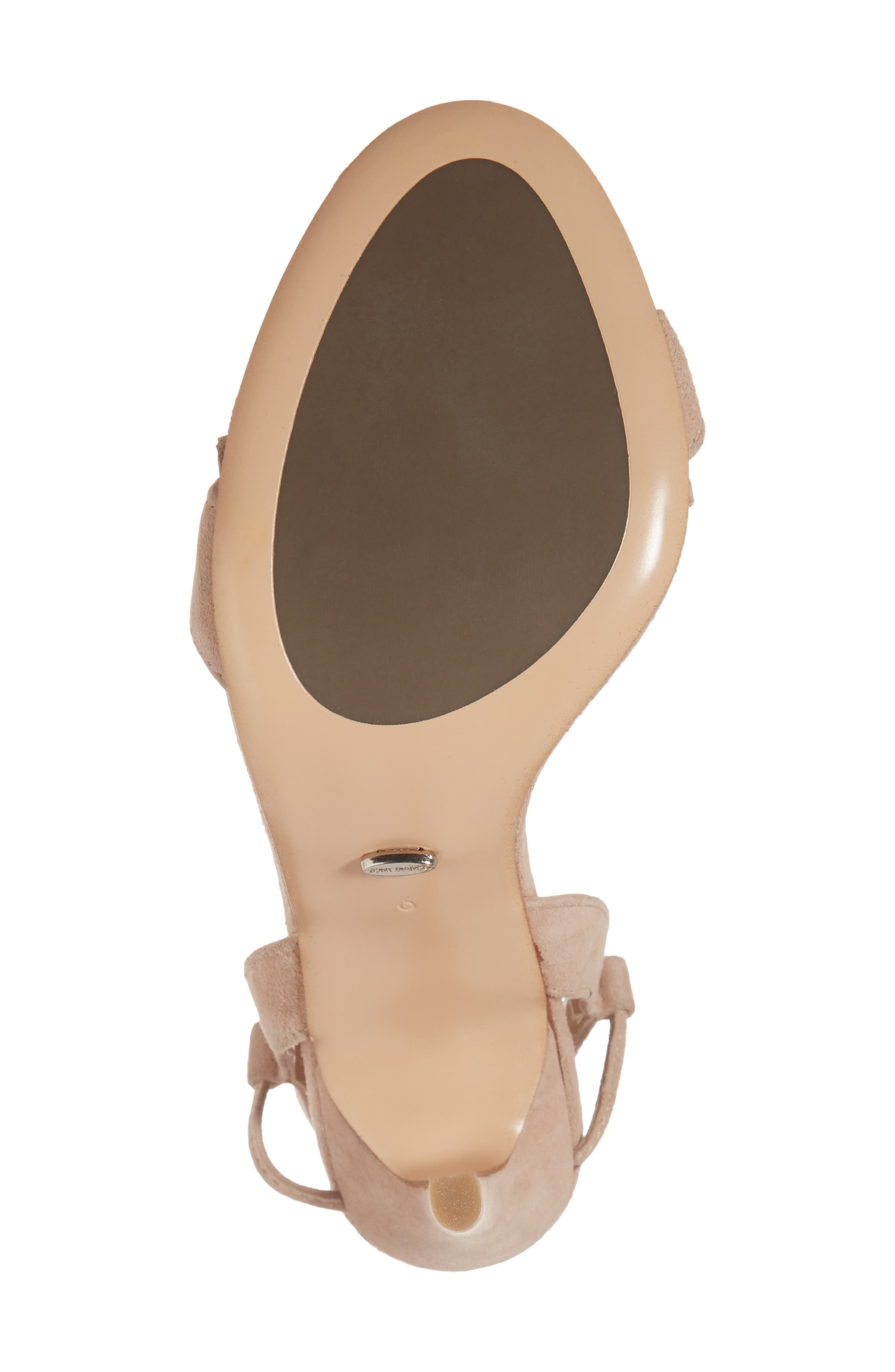 Kalipso Ruffled Wraparound Sandal,                             Alternate thumbnail 5, color,                             Blush Suede