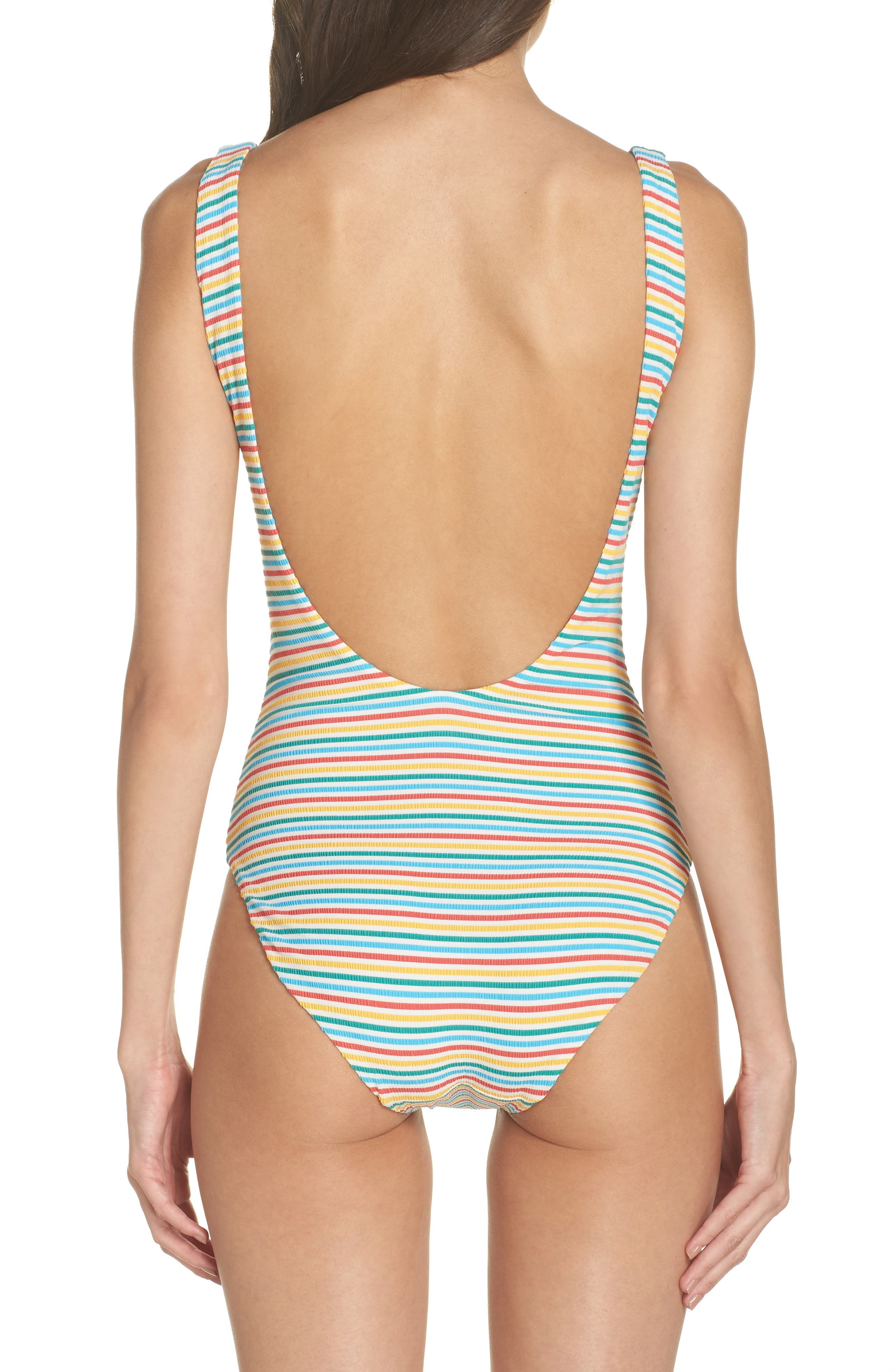 Stripe Low Back One-Piece Swimsuit,                             Alternate thumbnail 2, color,                             Yellow/ Blue/ Red