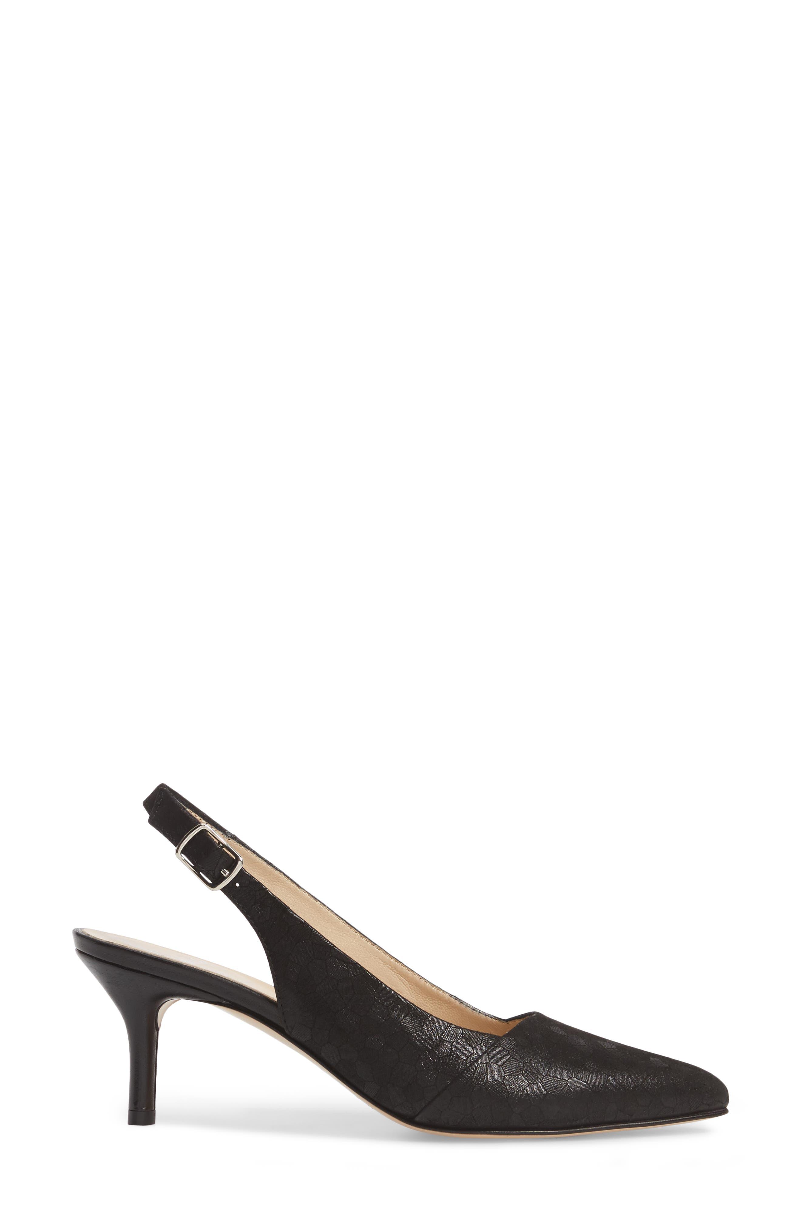 Parigi Slingback Pump,                             Alternate thumbnail 3, color,                             Black Leather