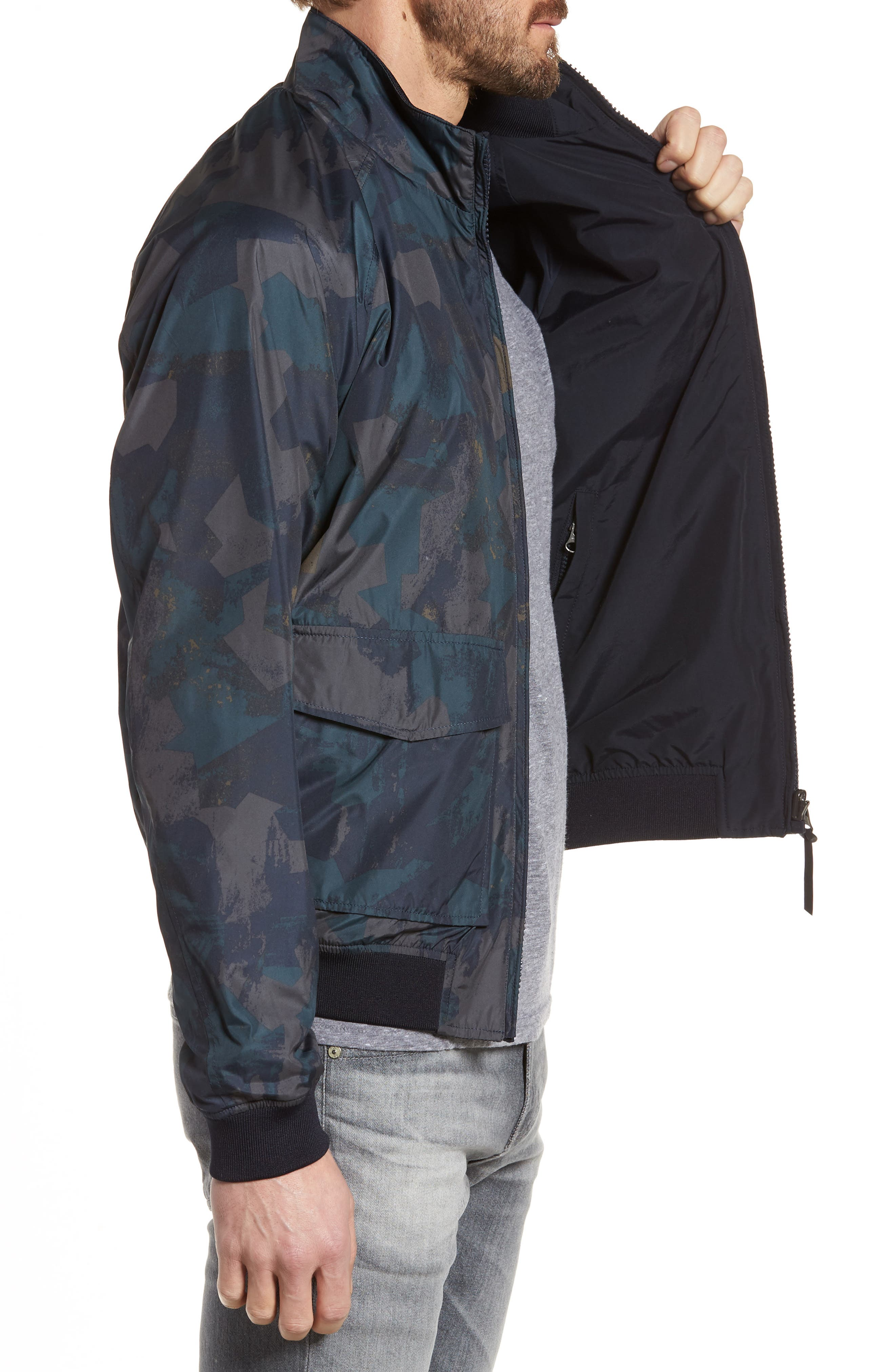 & Bros. Shore Reversible Bomber Jacket,                             Alternate thumbnail 3, color,                             Melton Blue Camo