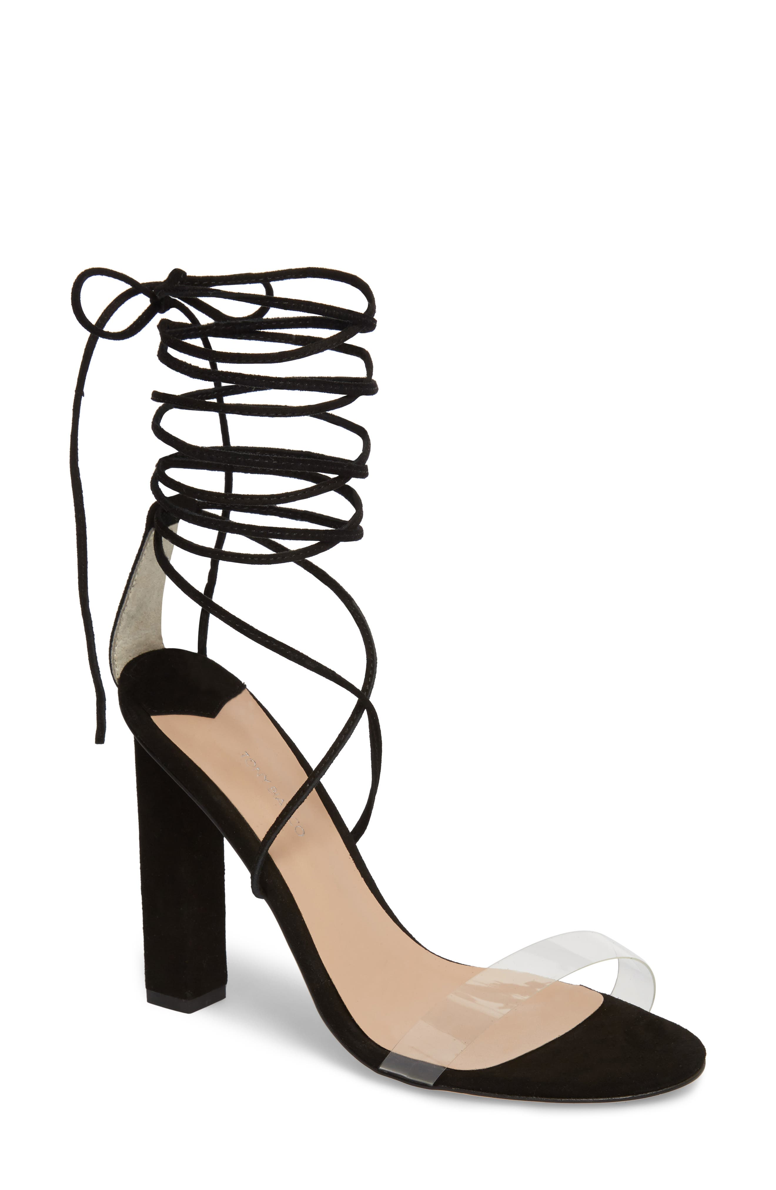 Kendall Ankle Tie Sandal,                             Main thumbnail 1, color,                             Clear/ Black Suede