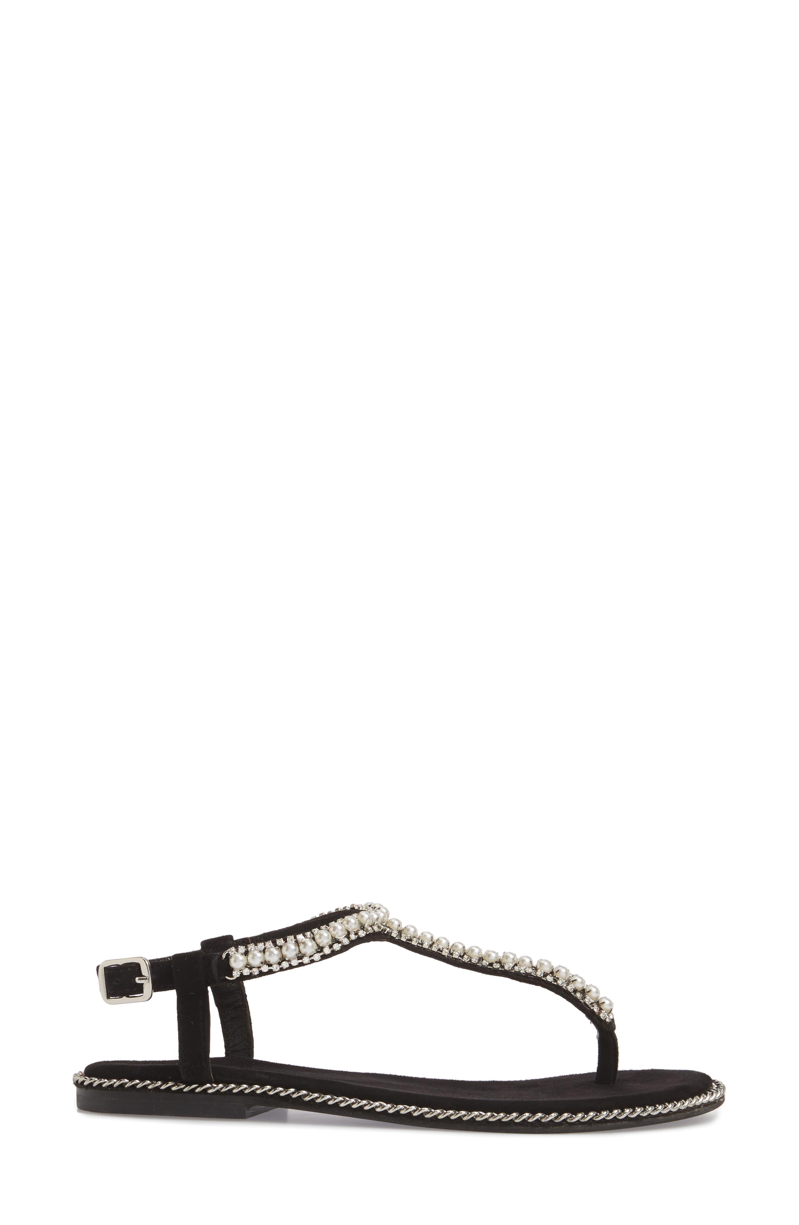 Embellished Ankle Strap Sandal,                             Alternate thumbnail 3, color,                             Black Suede