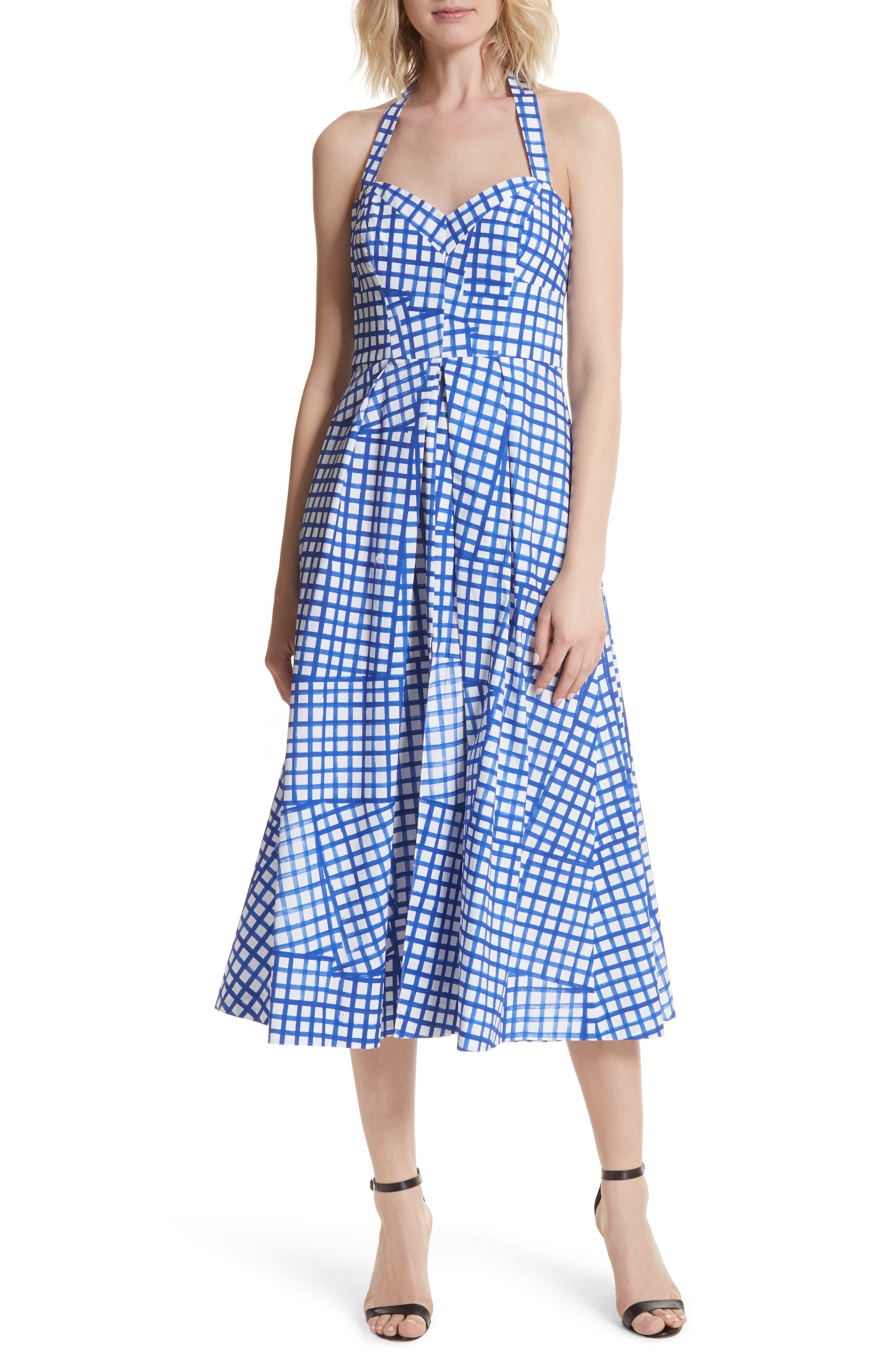 Paige Stretch Cotton Halter Dress,                         Main,                         color, Blueberry