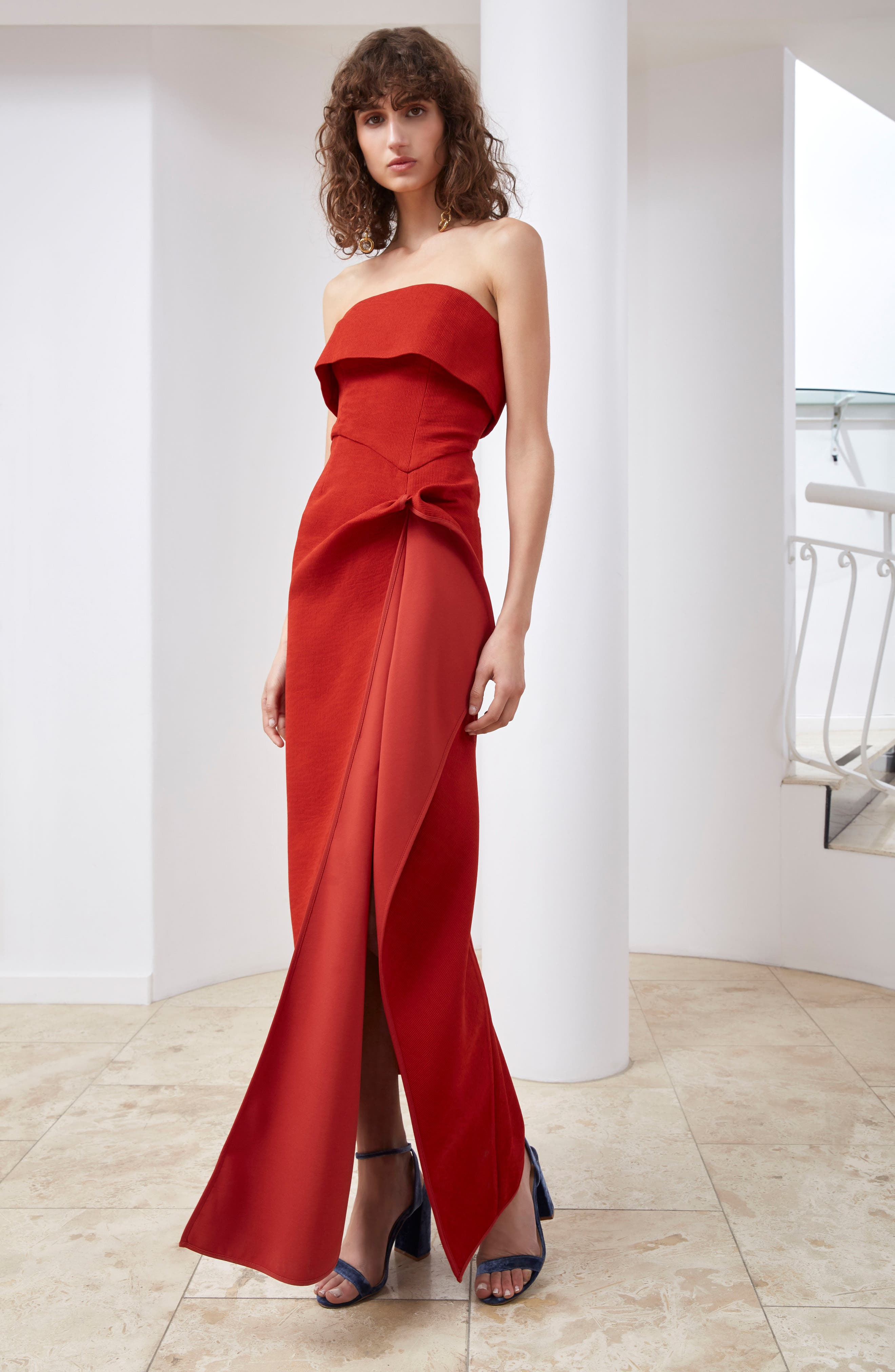 Fluidity Strapless Maxi Dress,                             Alternate thumbnail 2, color,                             Red
