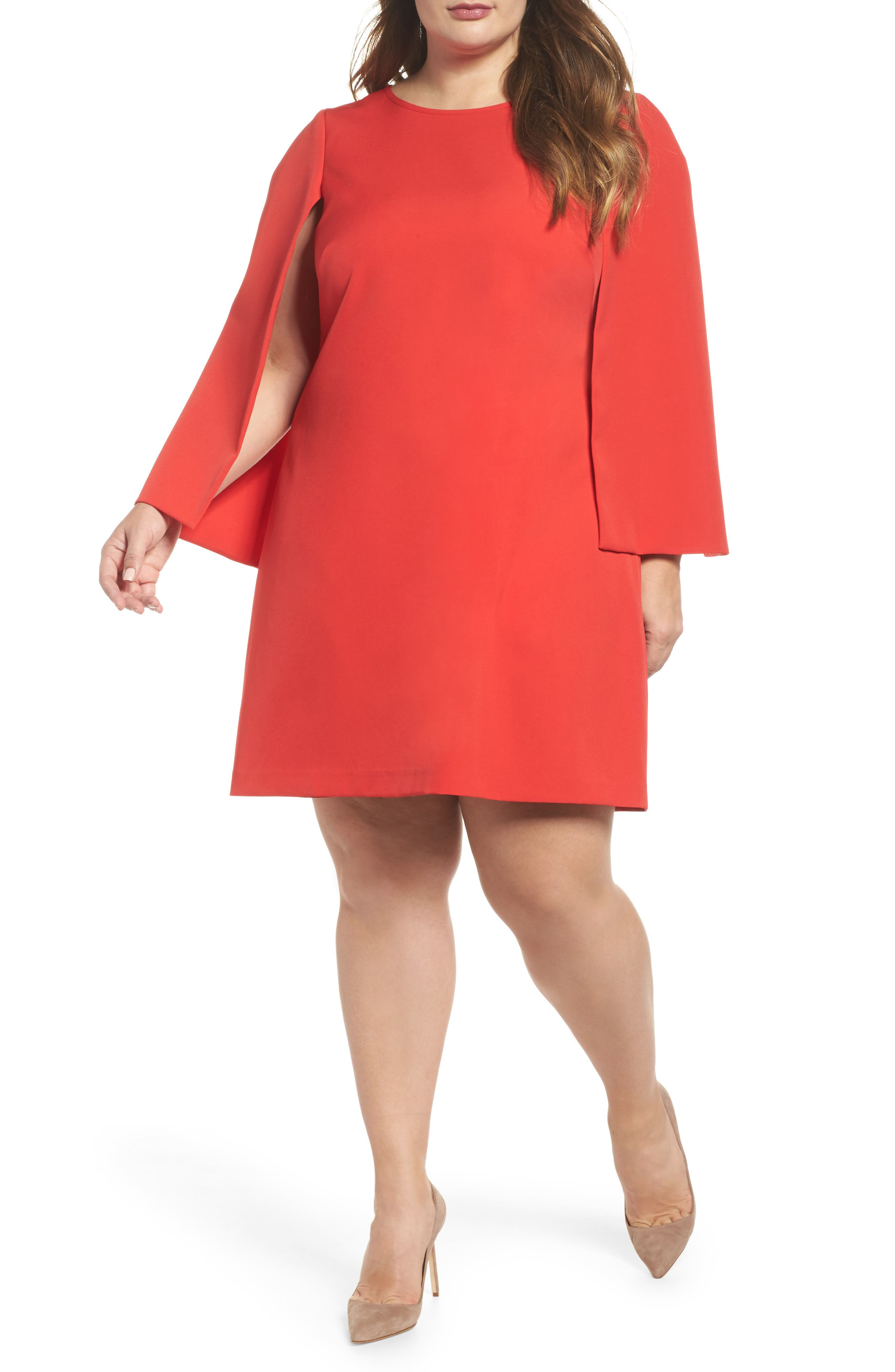 Jewel Neck Cape Sleeve Dress,                         Main,                         color, Red