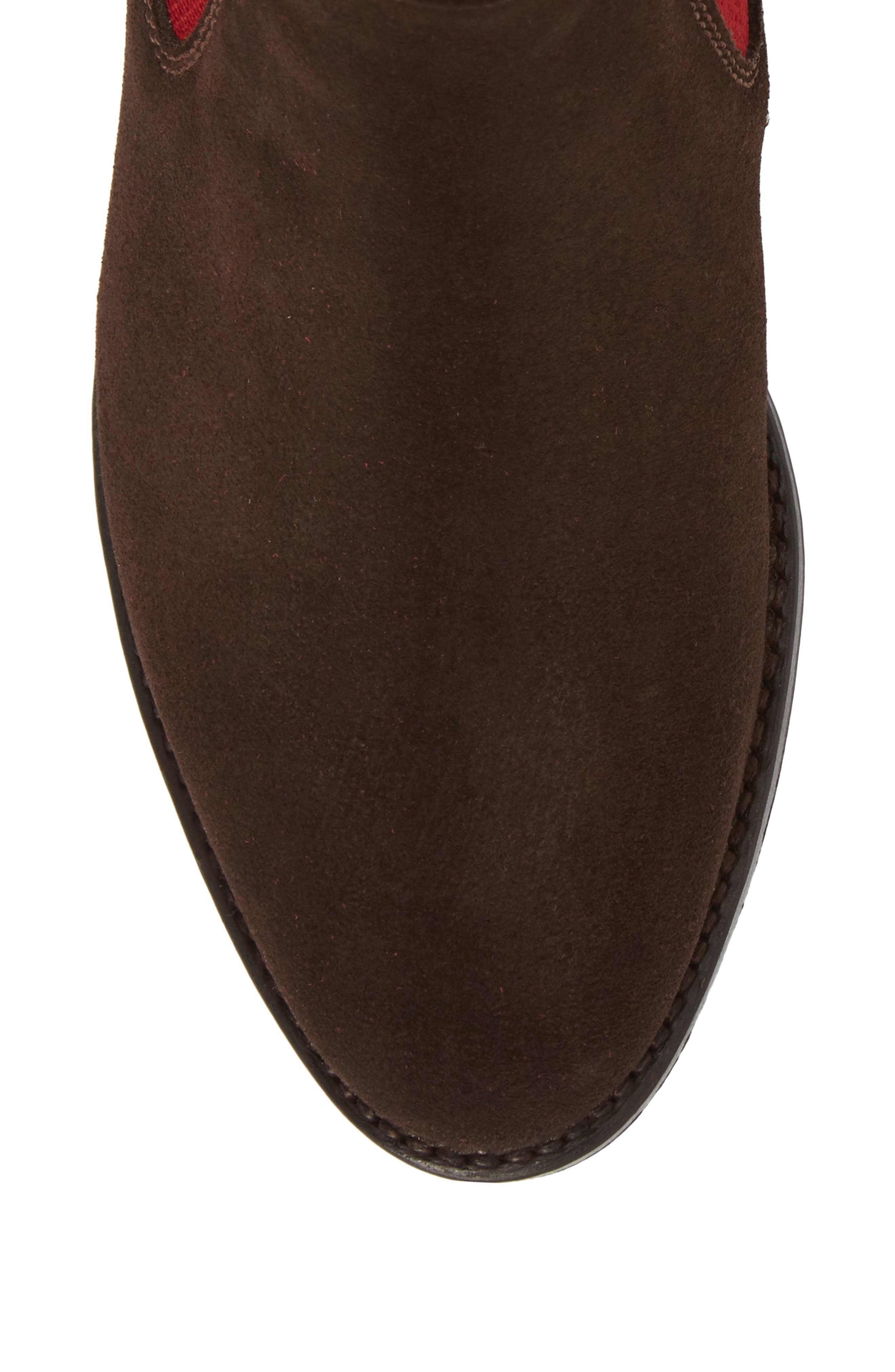 Benissa Lux Chelsea Boot,                             Alternate thumbnail 5, color,                             Brown Suede
