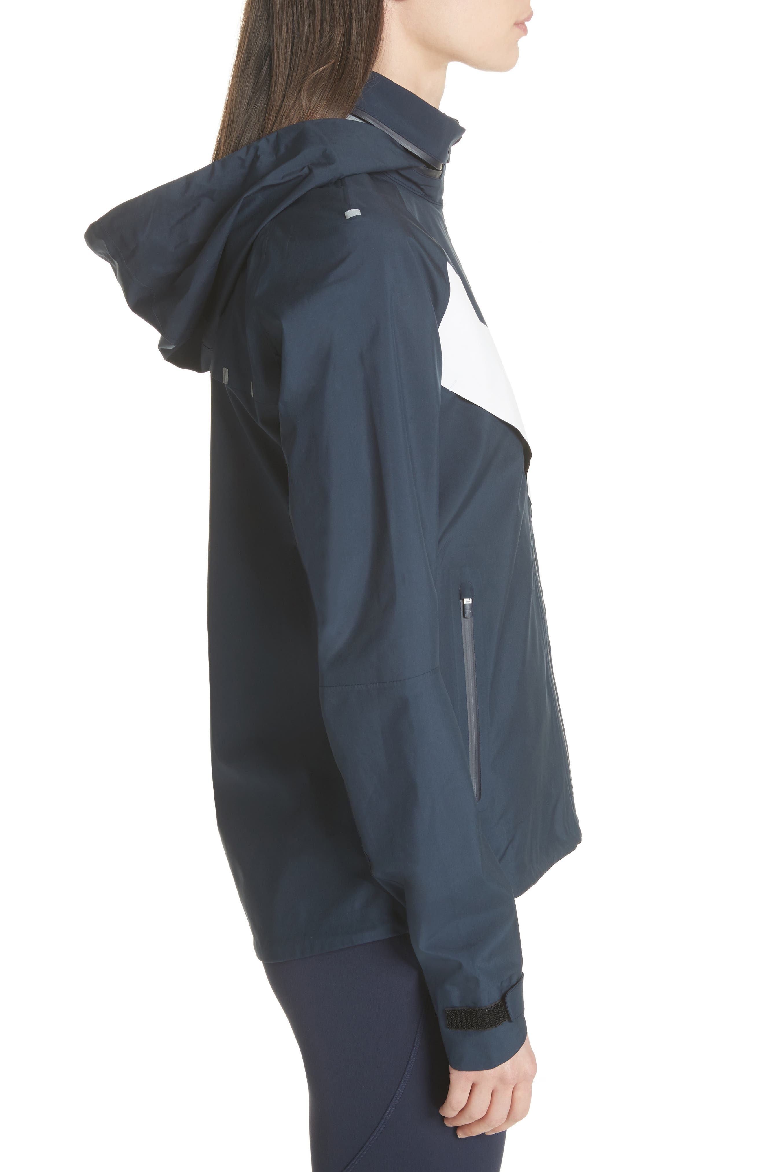 All Weather Run Jacket,                             Alternate thumbnail 4, color,                             Tory Navy/ White Snow