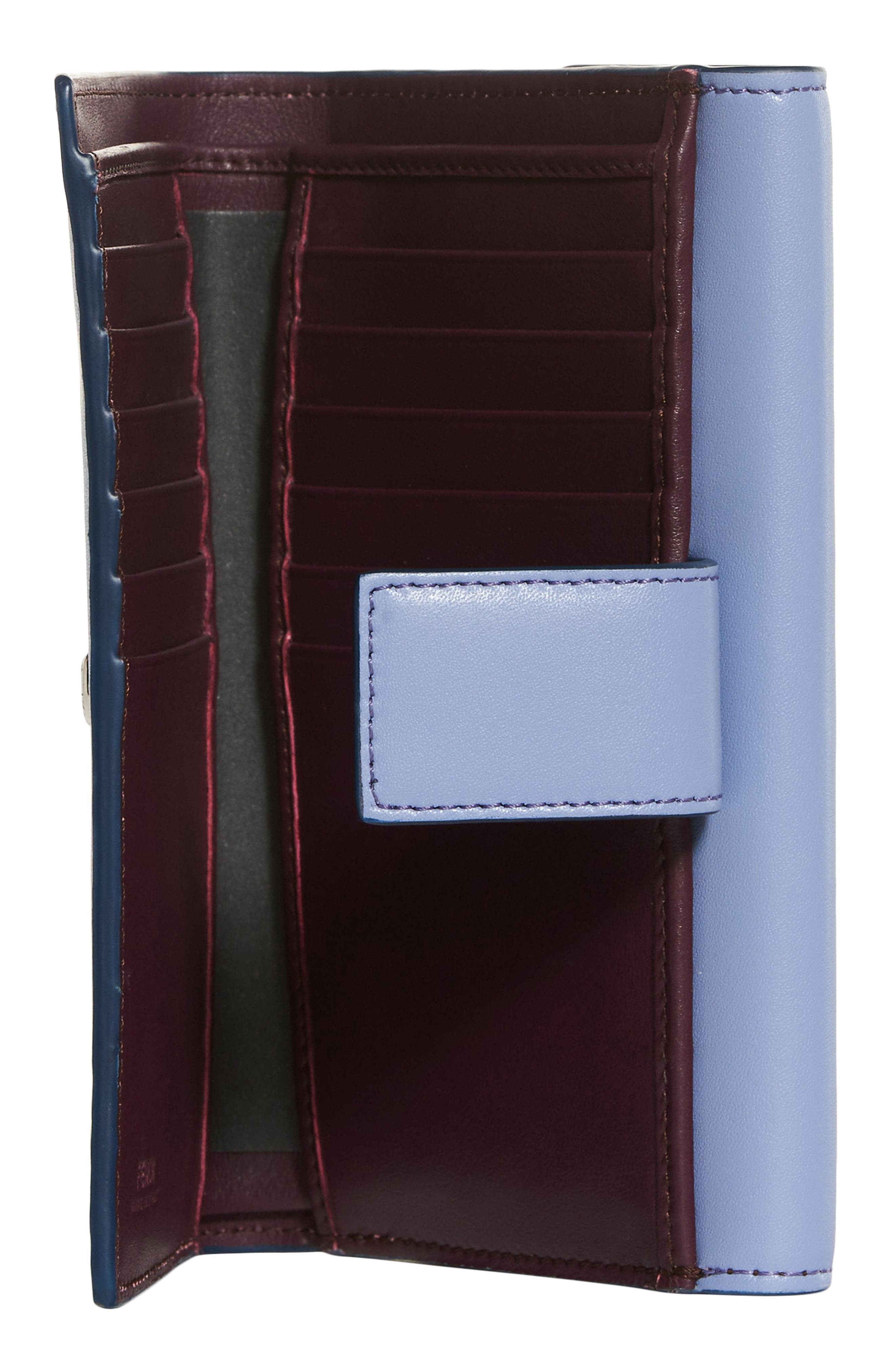 Medium Leather Wallet,                             Alternate thumbnail 2, color,                             Sky