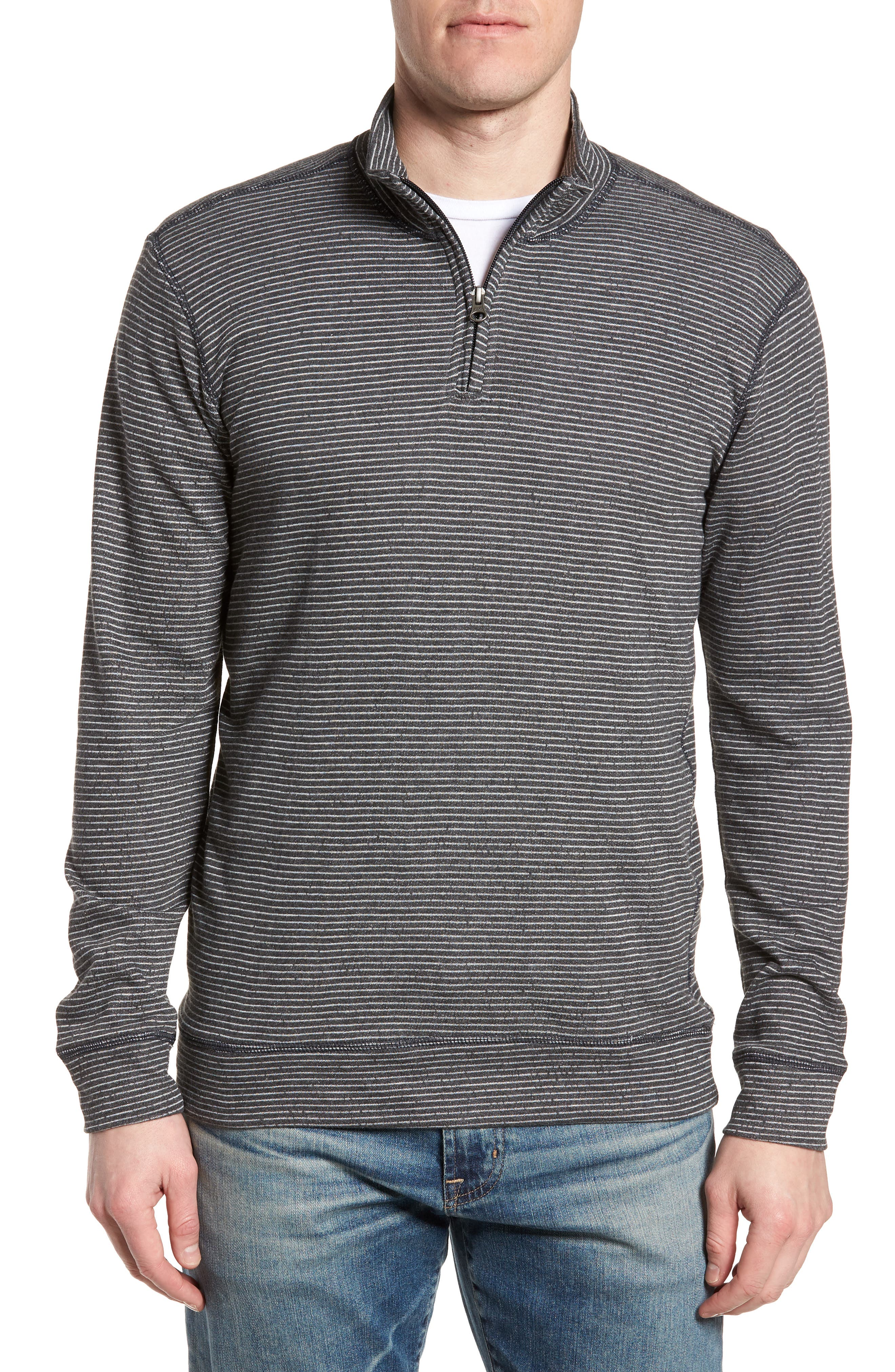 Space Dye Stripe French Terry Pullover,                             Main thumbnail 1, color,                             Charcoal
