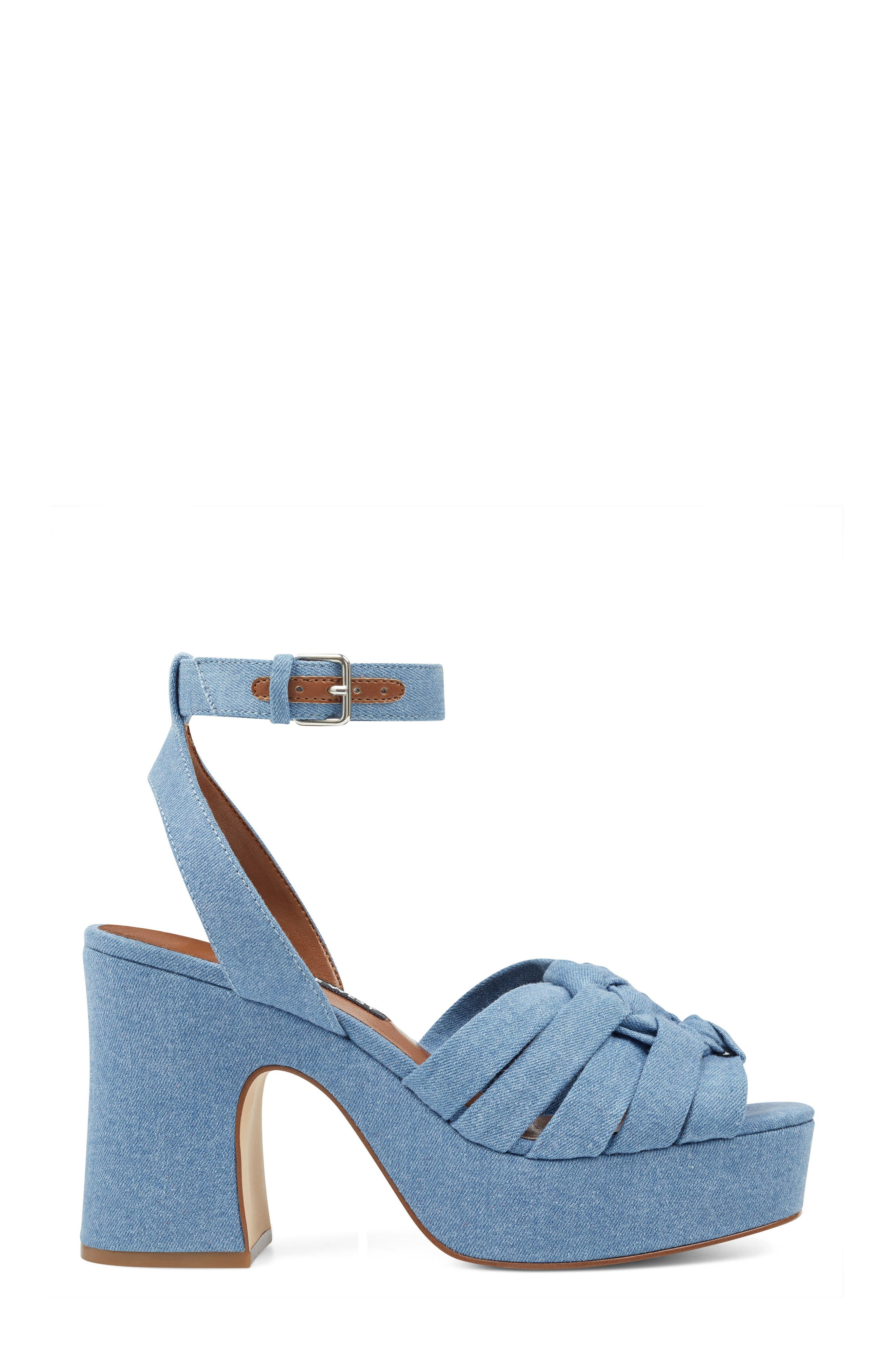 Fetuchini Platform Sandal,                             Alternate thumbnail 3, color,                             Light Blue Denim