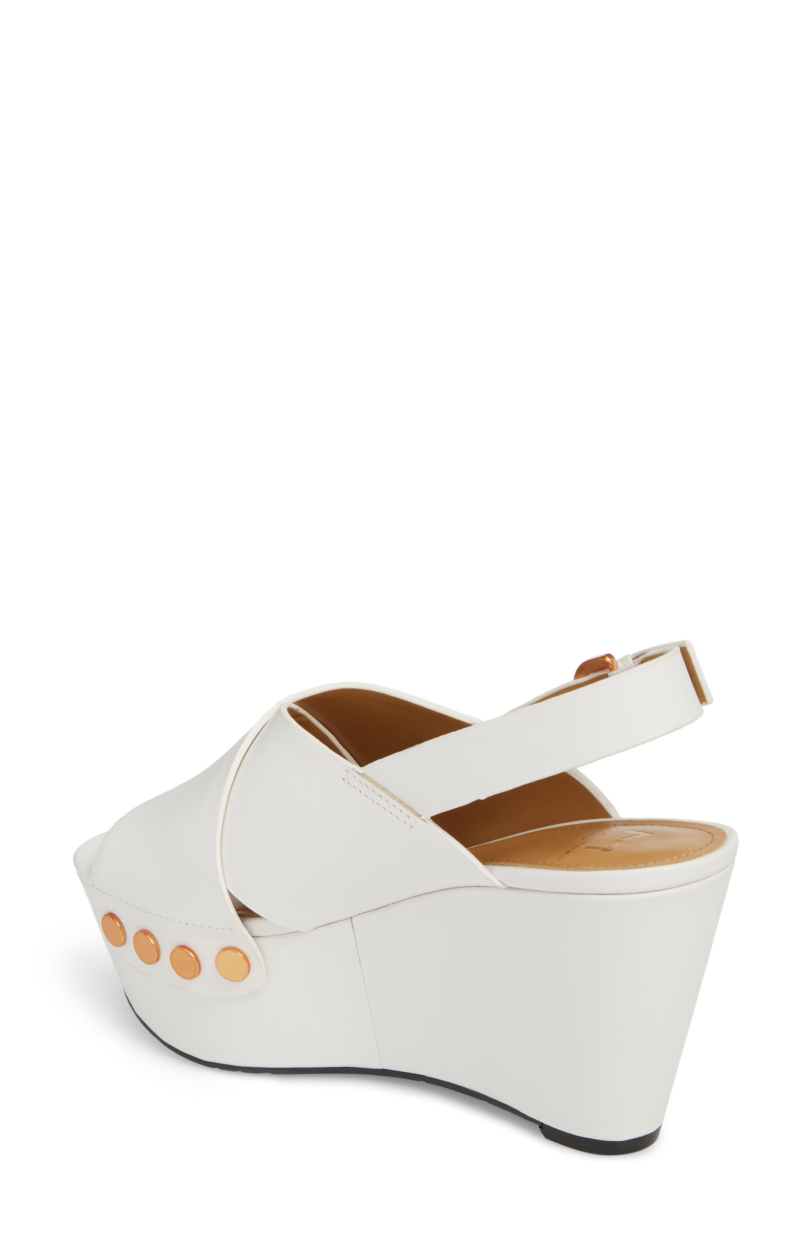 Barlow Wedge Sandal,                             Alternate thumbnail 2, color,                             White Leather