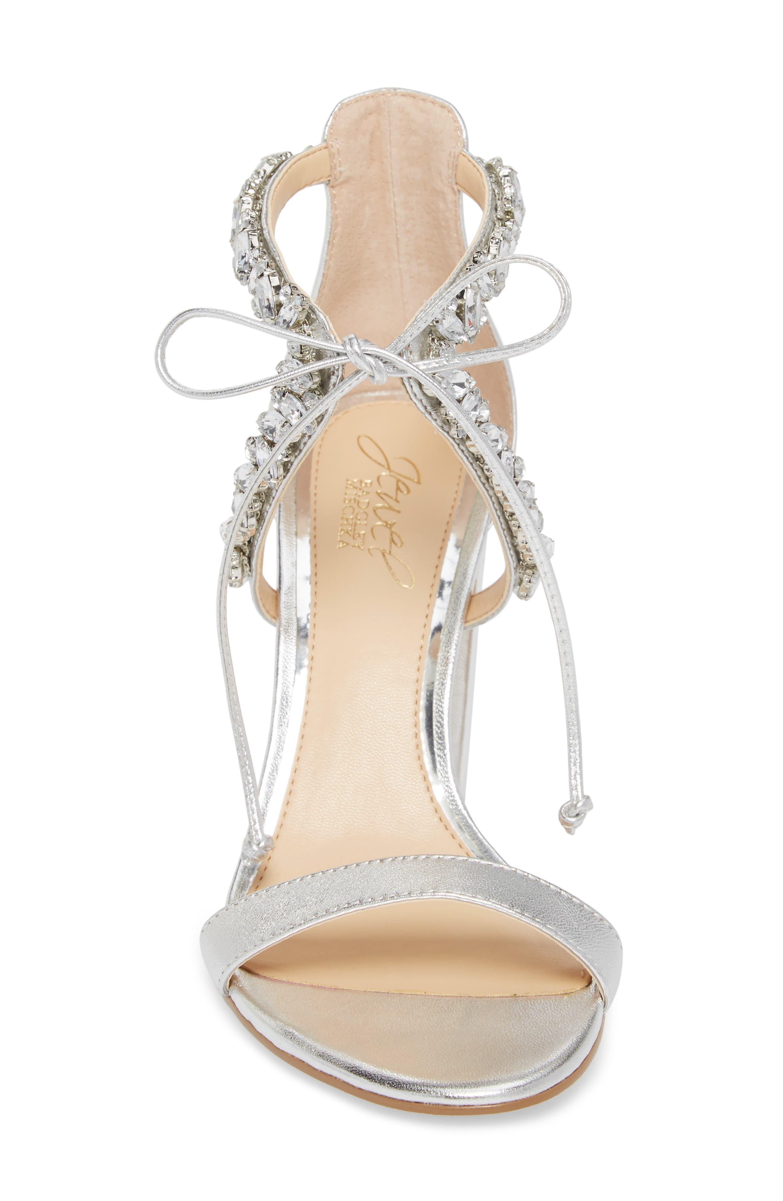 Thamar Embellished Sandal,                             Alternate thumbnail 4, color,                             Silver Leather