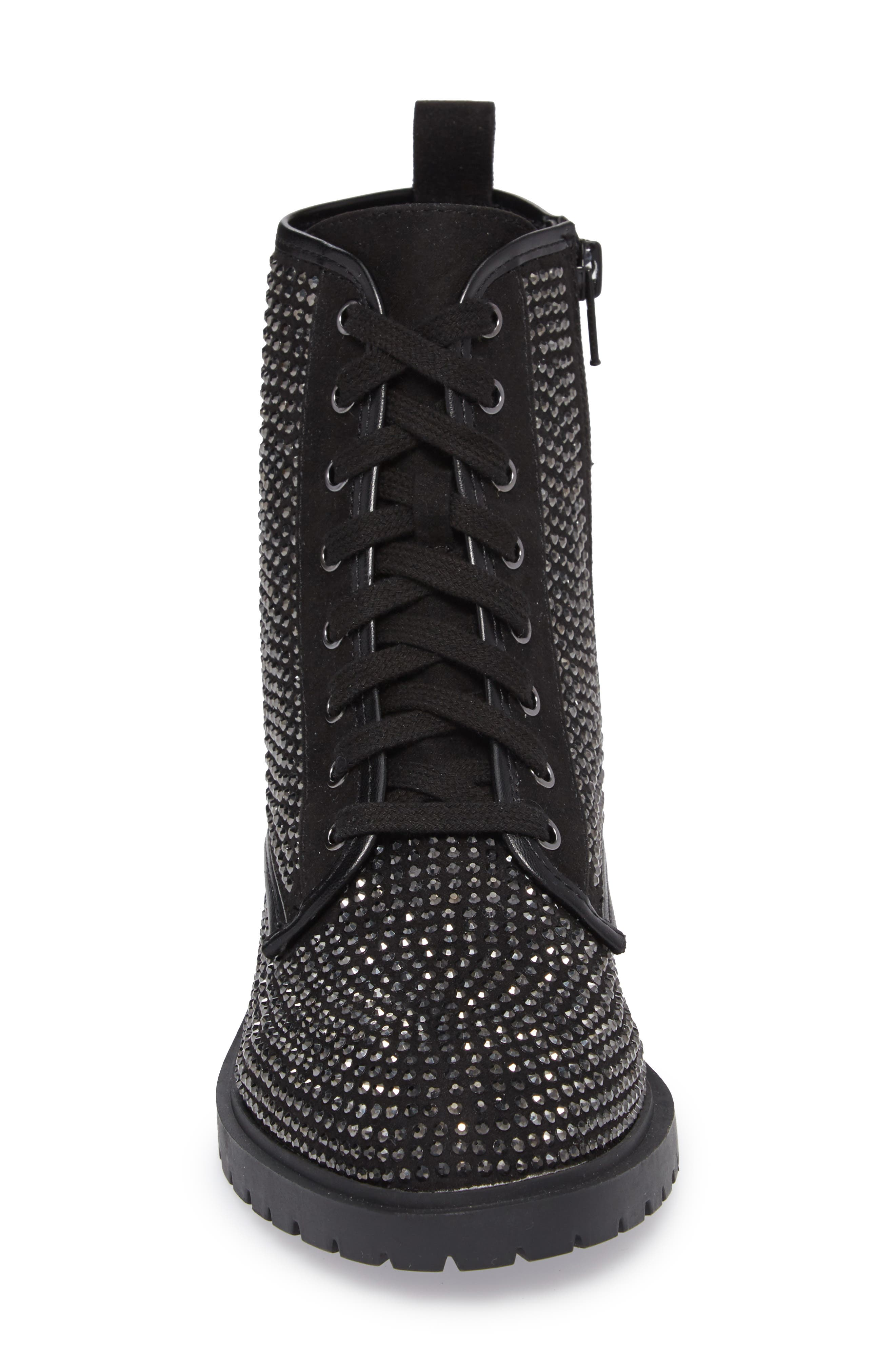 Ozzy Embellished Boot,                             Alternate thumbnail 4, color,                             Black Multi Suede