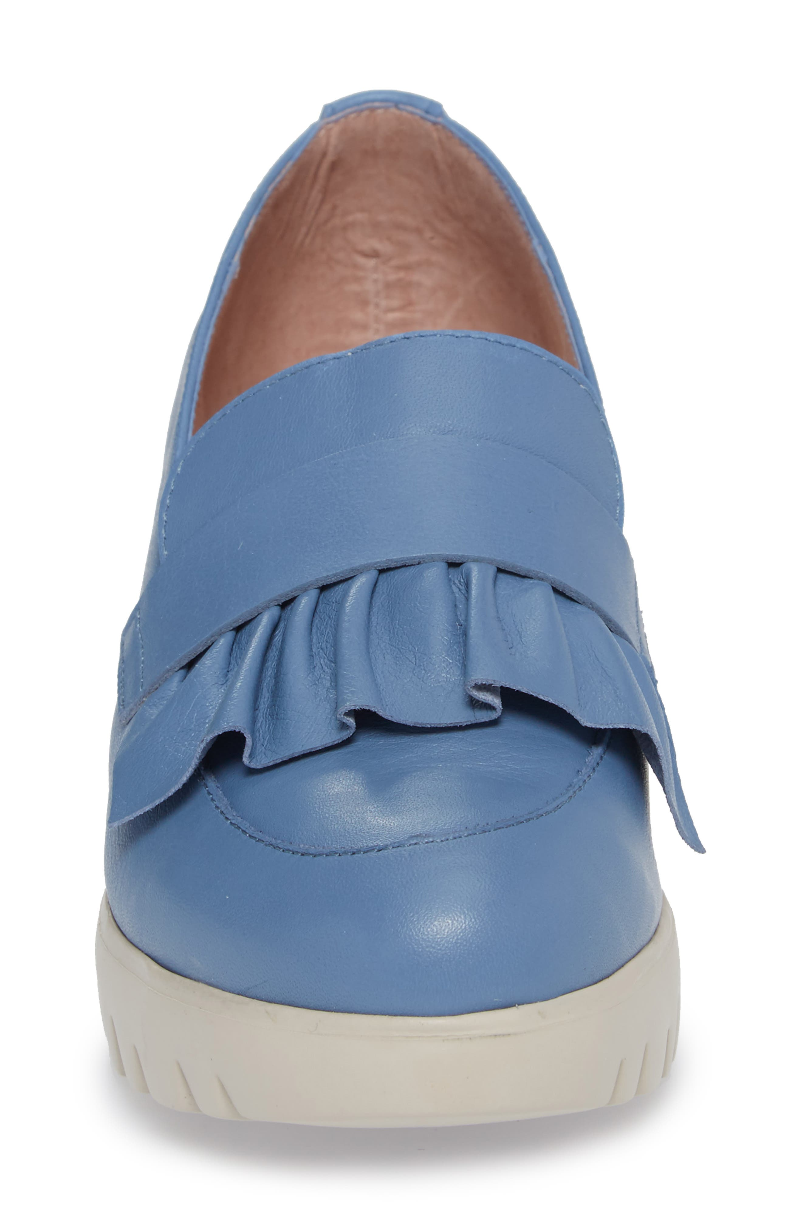 Loafer Wedge,                             Alternate thumbnail 4, color,                             Jeans Leather
